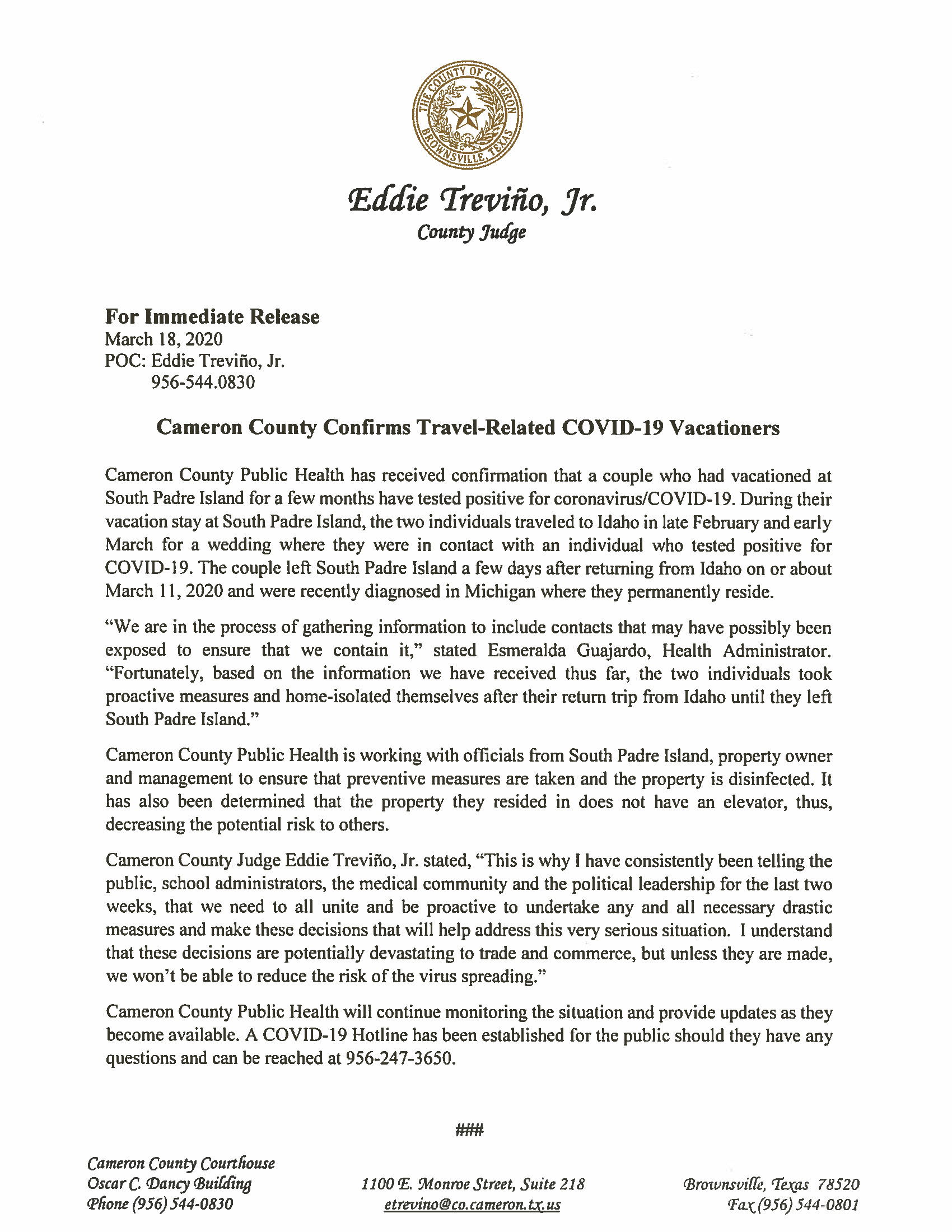 03 18 2020 Press Release Cameron County Confirms Travel Related COVID 19 Vacationers