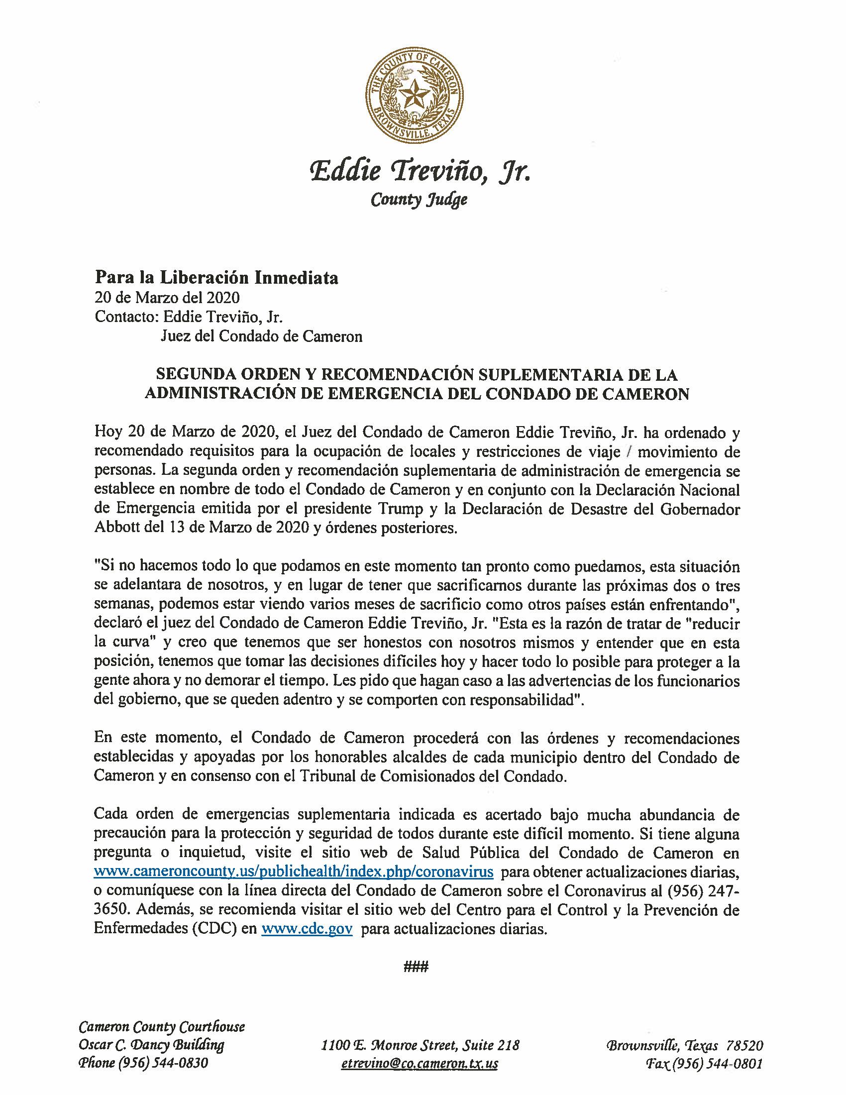 03 20 2020 Para La Liberacion Inmediata Seguna Orden Y Recomendacion Suplementaria