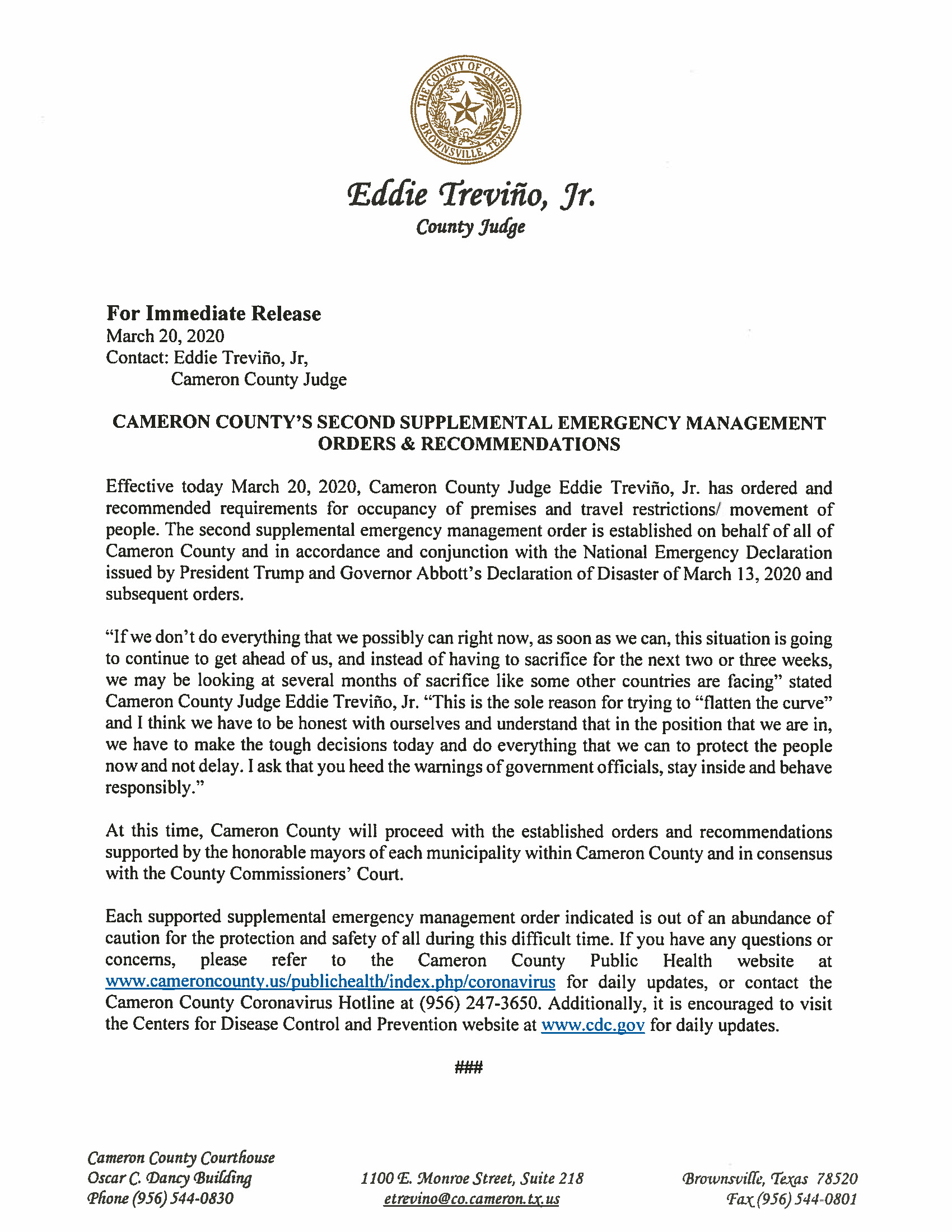 03 20 2020 Press Release Second Supplemental Orders And Recommendations