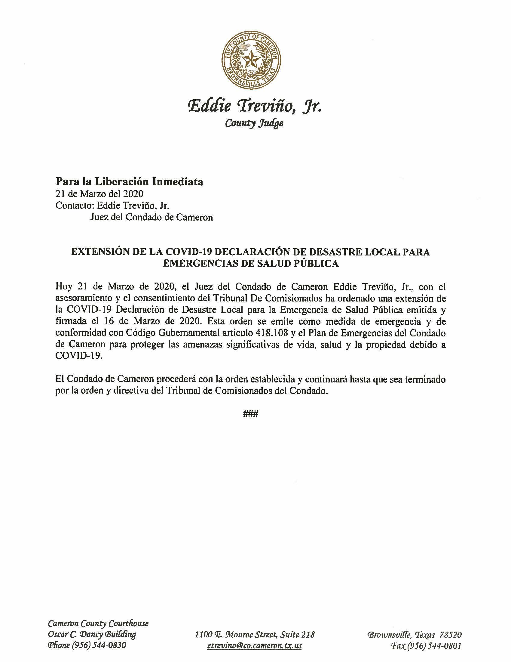 03.21.2020 Para La Liberacion Inmediata Extension De La OVID19 Declaracion