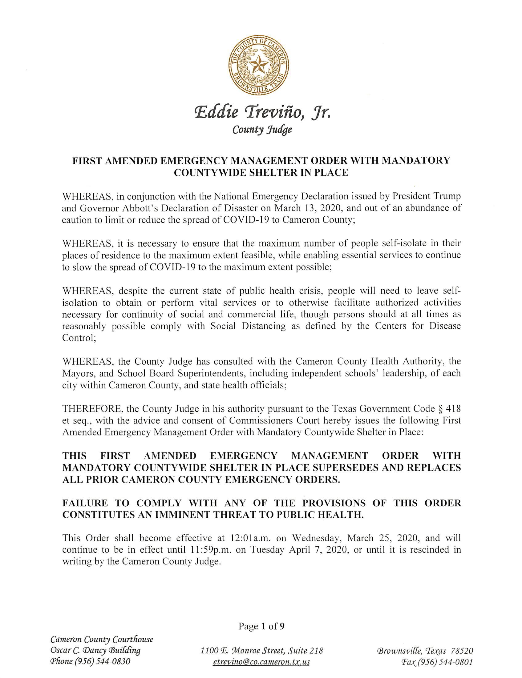 2020 03 26 FIRST AMENDED EMERGENCY MANAGEMENT ORDER WITH MANDATORY COUNTYWIDE SHELTER IN PLACE Page 1