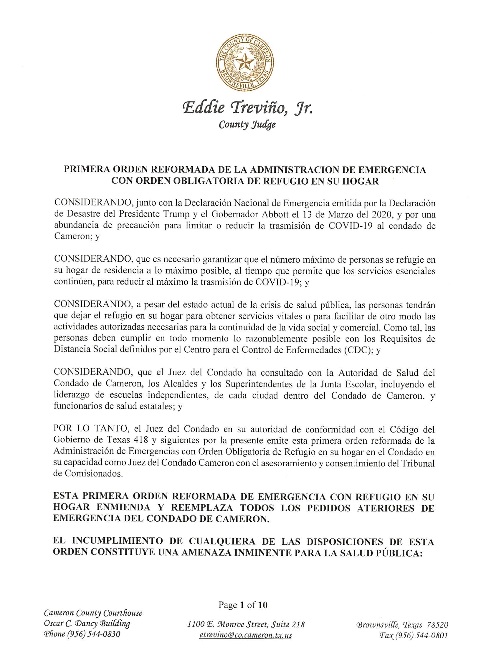 2020 03 26 PRIMERA ORDEN REFORMADA DE LA ADMINISTRACION DE EMERGENCIA CON ORDEN OBLIGATORIA DE REFUGIO EN SU HOGAR Page 01