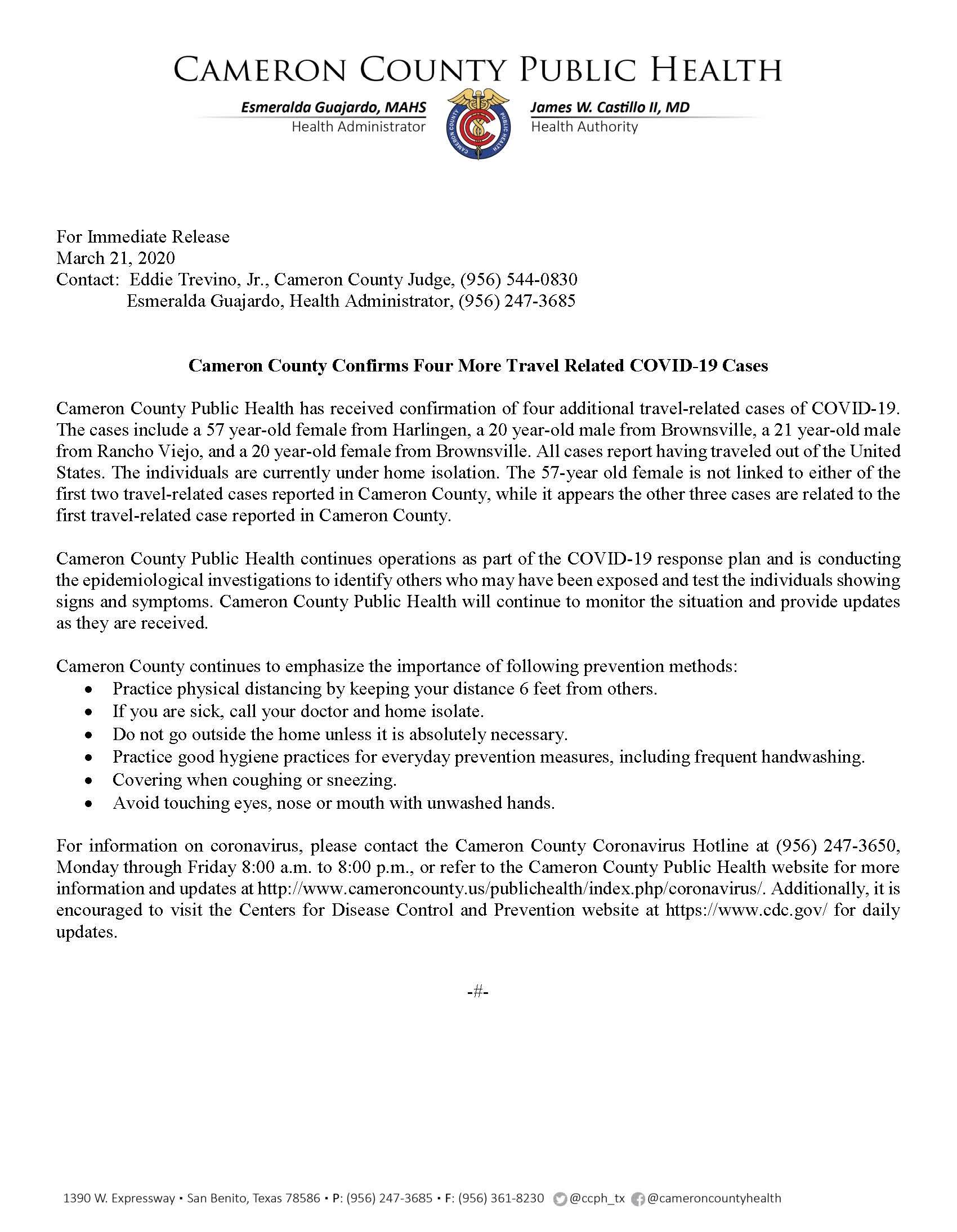 COVID 19 Press Release Addlt 4 TRC 3.21.2020