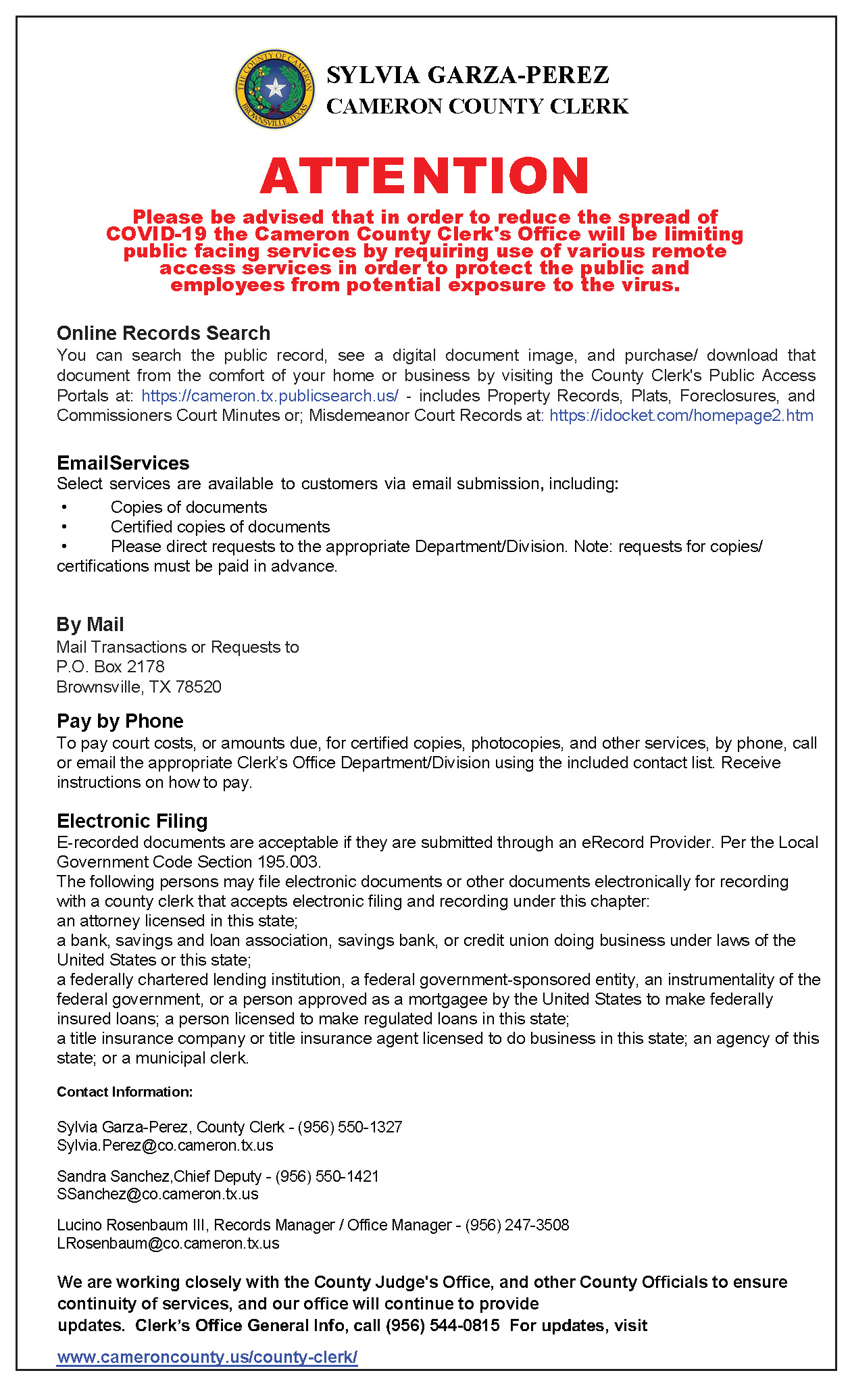 County Clerks Office Informational Flyer Recommending Use Of Available Remote Access Services