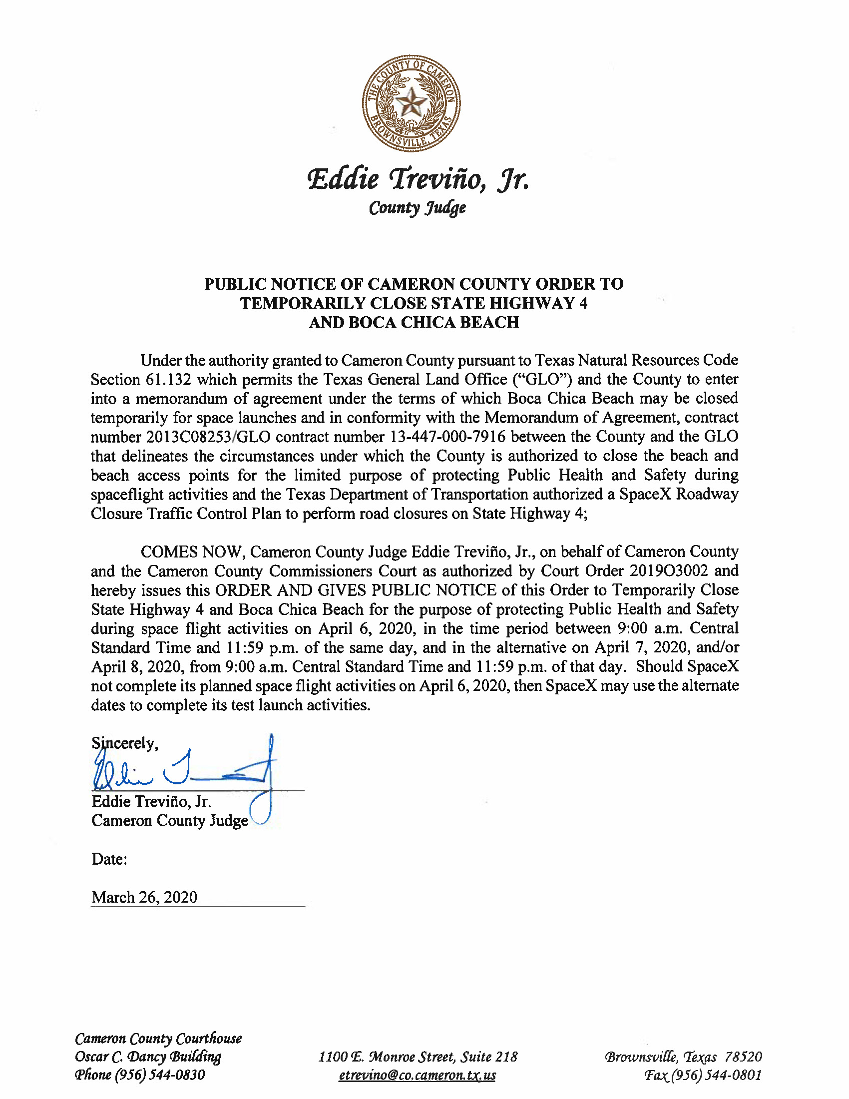 Order And Exhibit B For Boca Chica Beach And Road Closure.04.06.20 Page 1