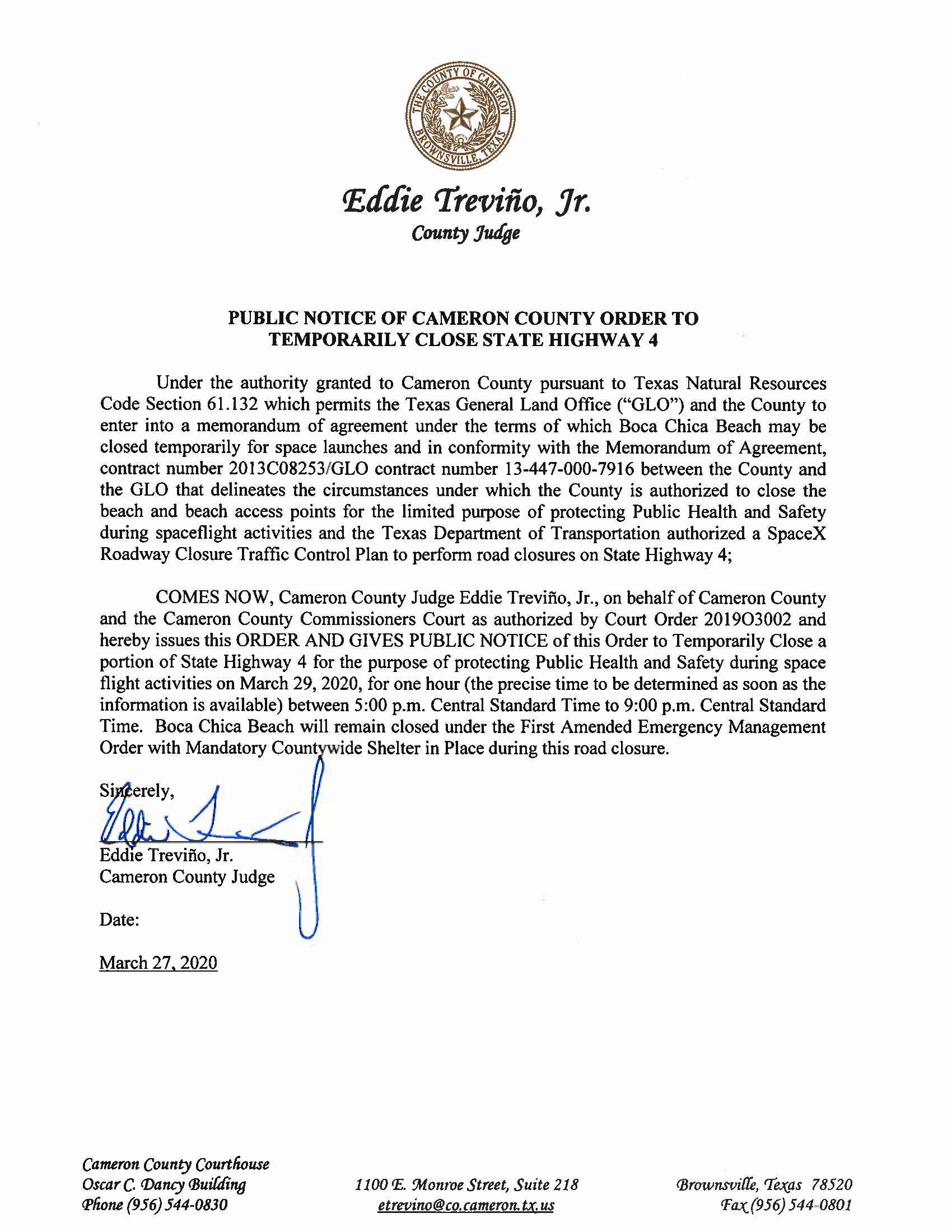 Order For 03.29.20.State Hwy 4 Closure Only Page 1