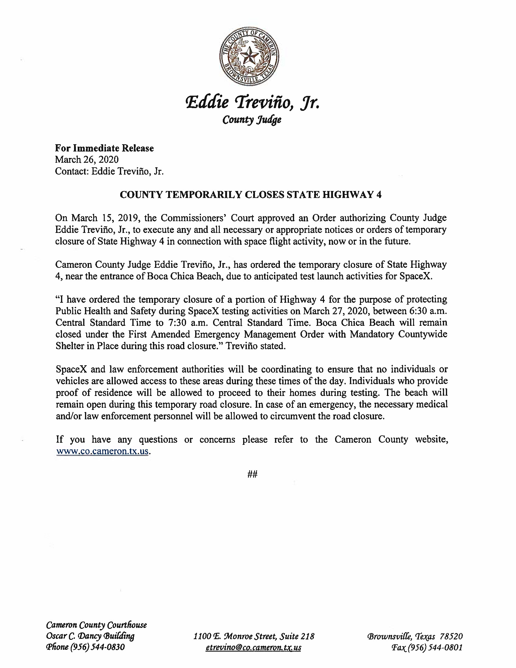 Press Release English Spanish For 03.27.2020.State Hwy 4 Closure Only Page 1