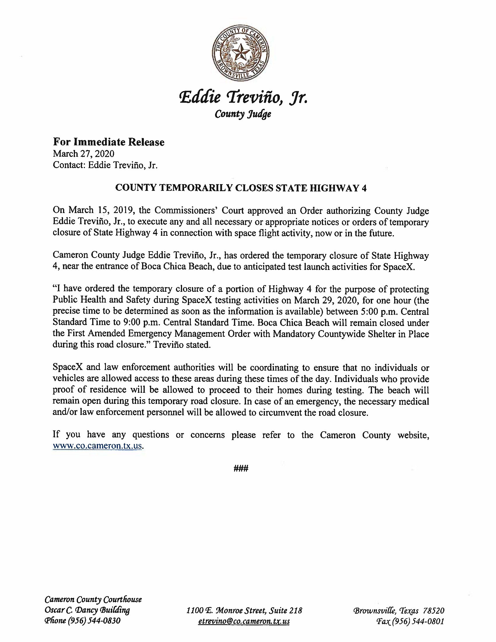 Press Release English Spanish For 03.29.2020.State Hwy 4 Closure Only Page 1