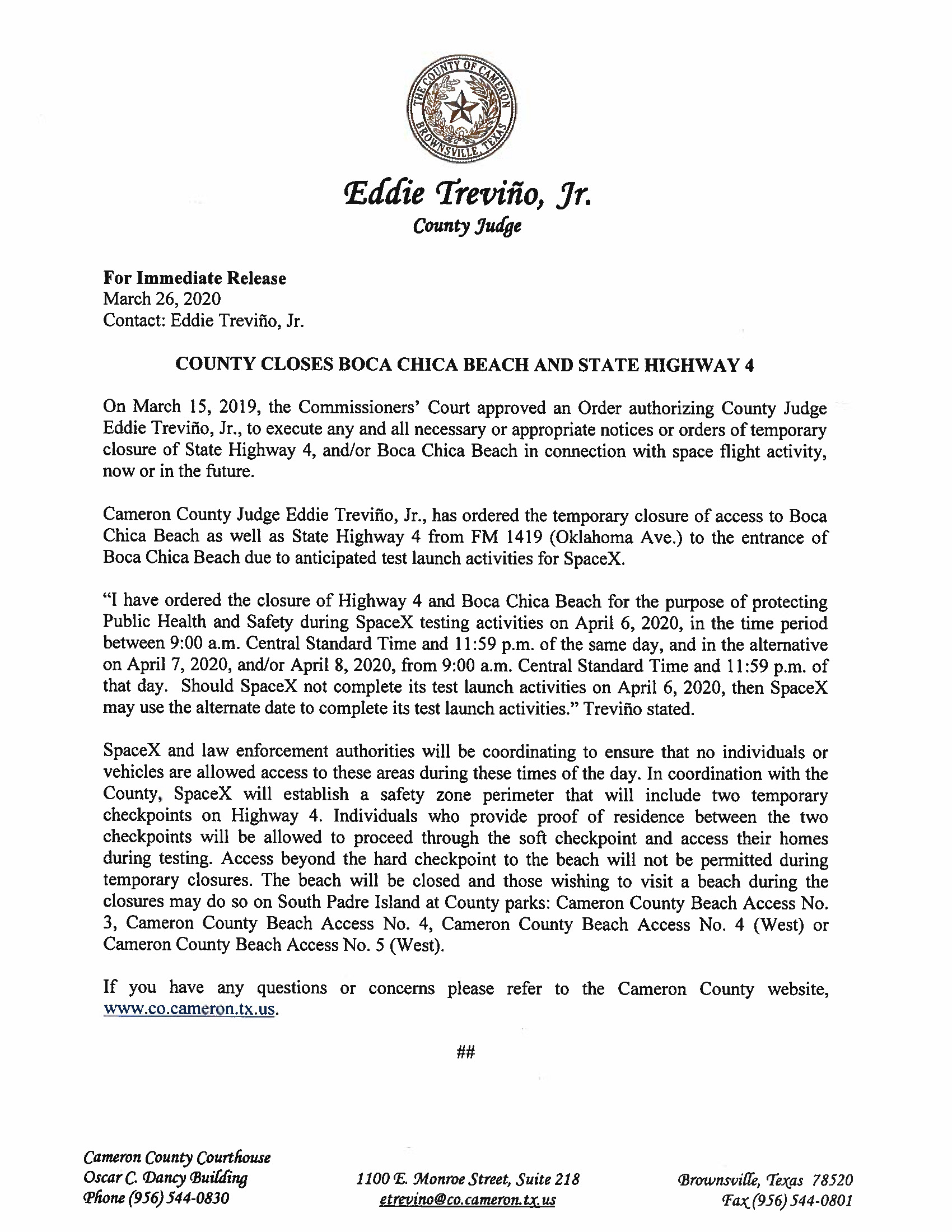 Press Release English Spanish For 04.06.2020 For Boca Chica Beach And Road Closure Page 1