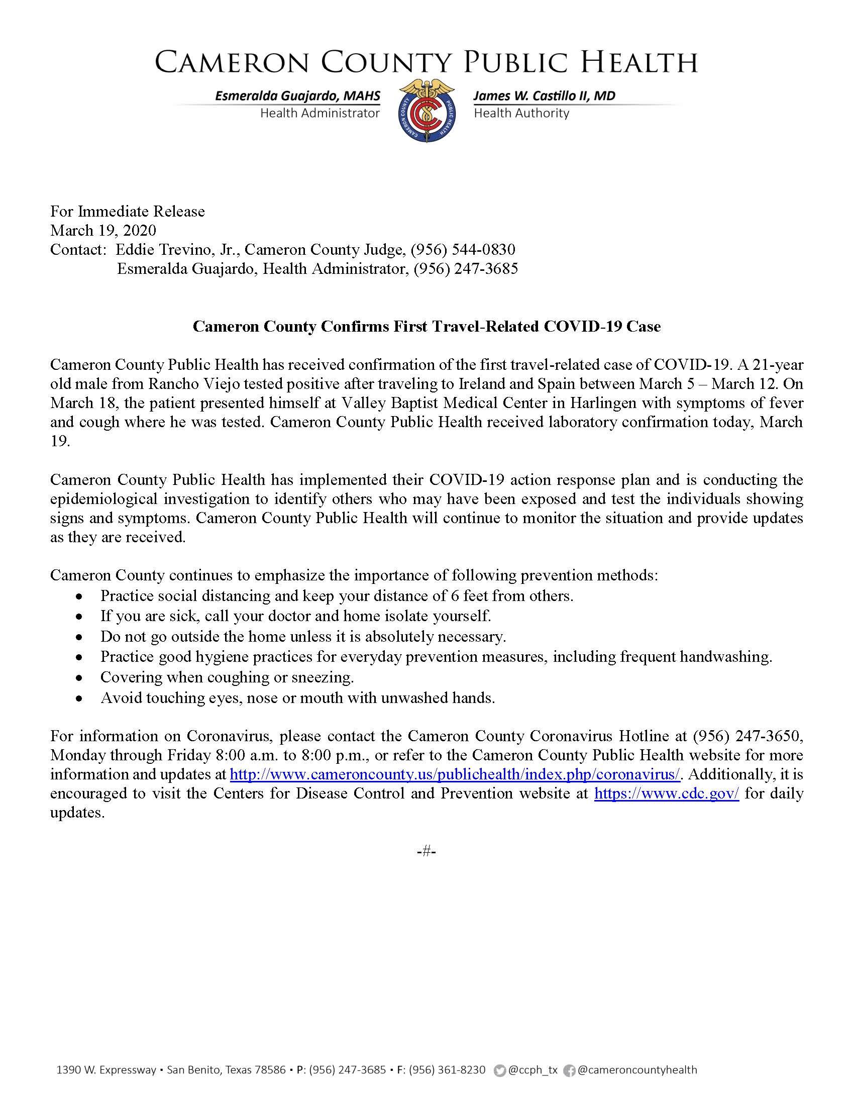 Press Release COVID Case 3.19.2020