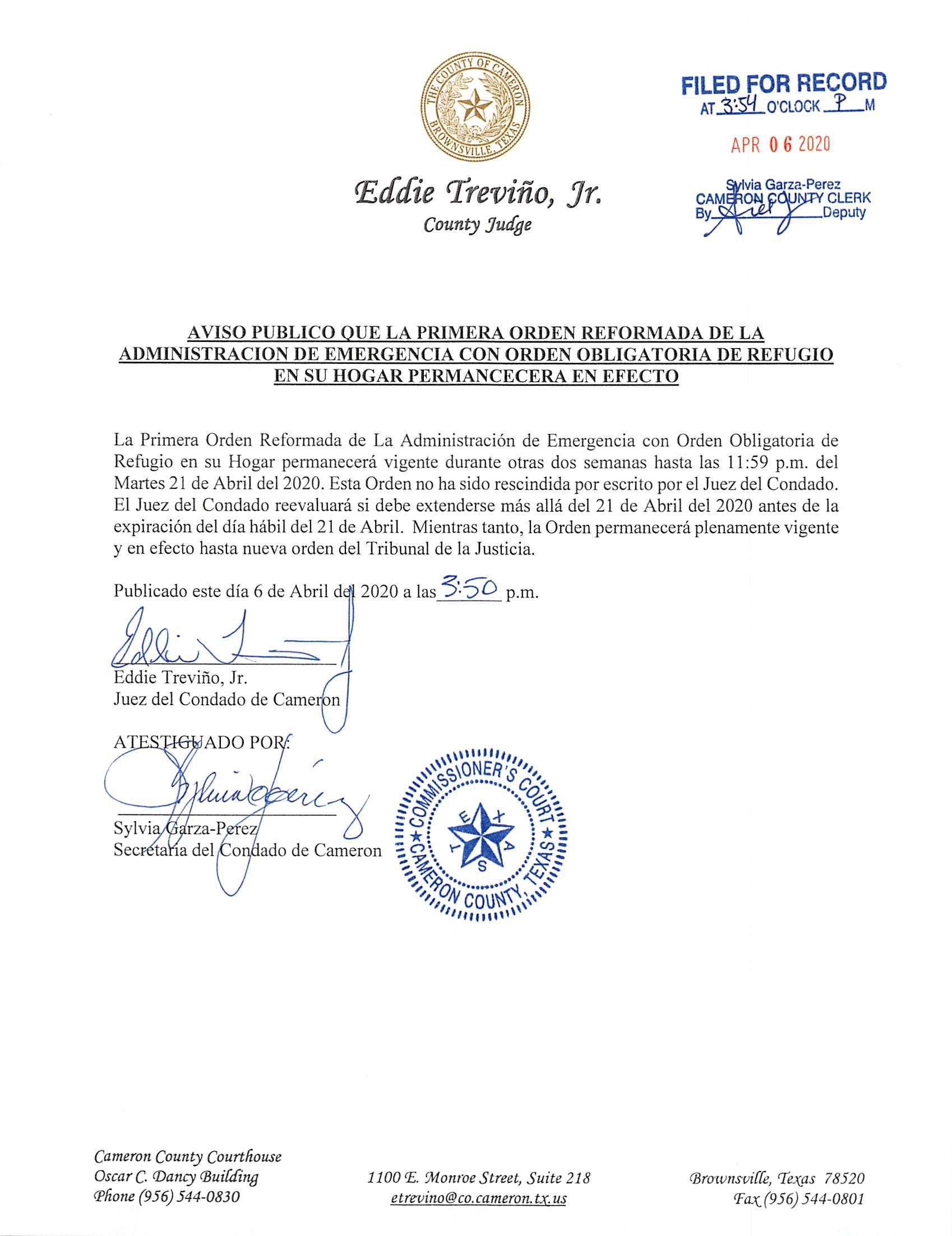 04.06.2020 Aviso Publico Refugio En Su Hogar Extendido