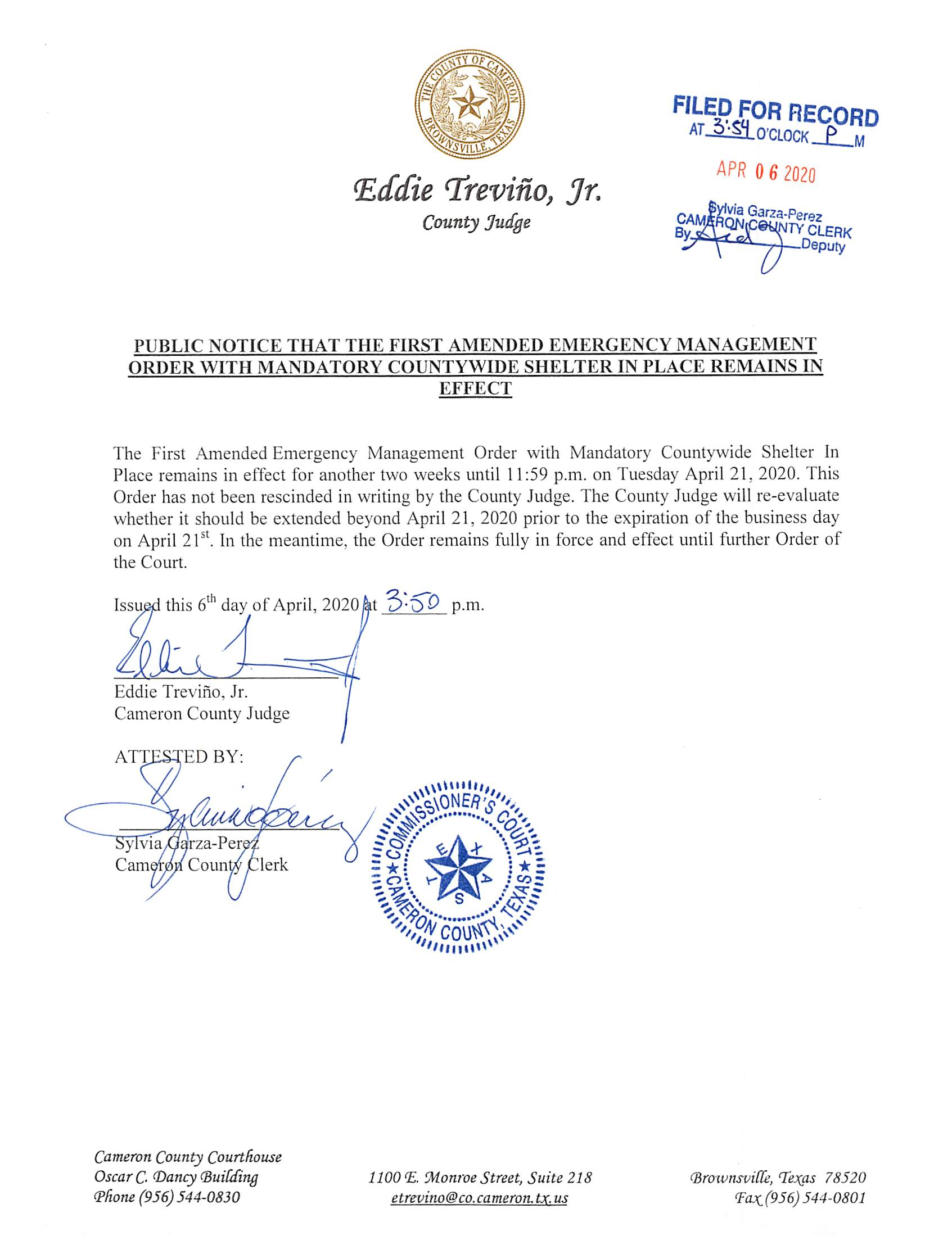 04.06.2020 Public Notice Shelter In Place Extended For Two More Weeks