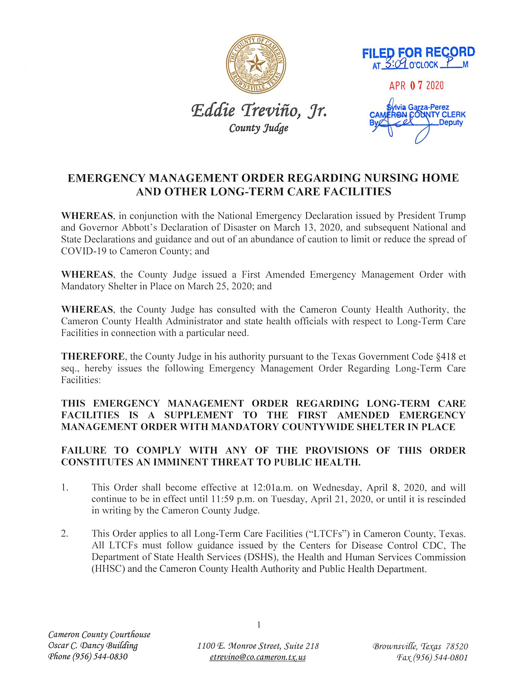04.07.2020 Emergency Management Order Regarding Nursery Home And Other Long Term Care Facilities Page 1