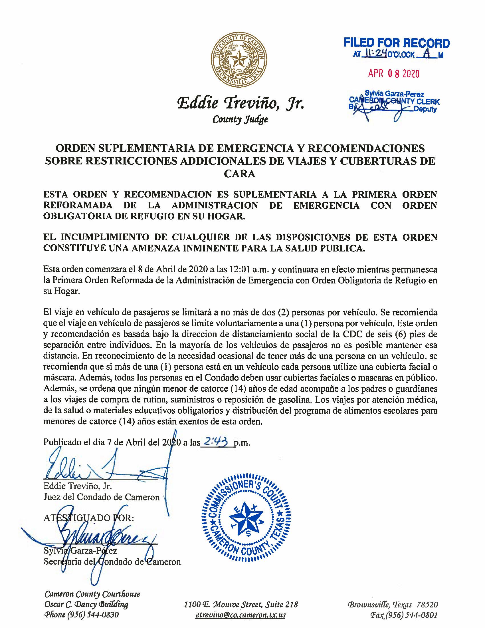 04.07.2020 Orden Suplementaria De Emergencia Y Recomendaciones Sobre Restricciones Addicionales De Viajes Y Cuberturas De Cara