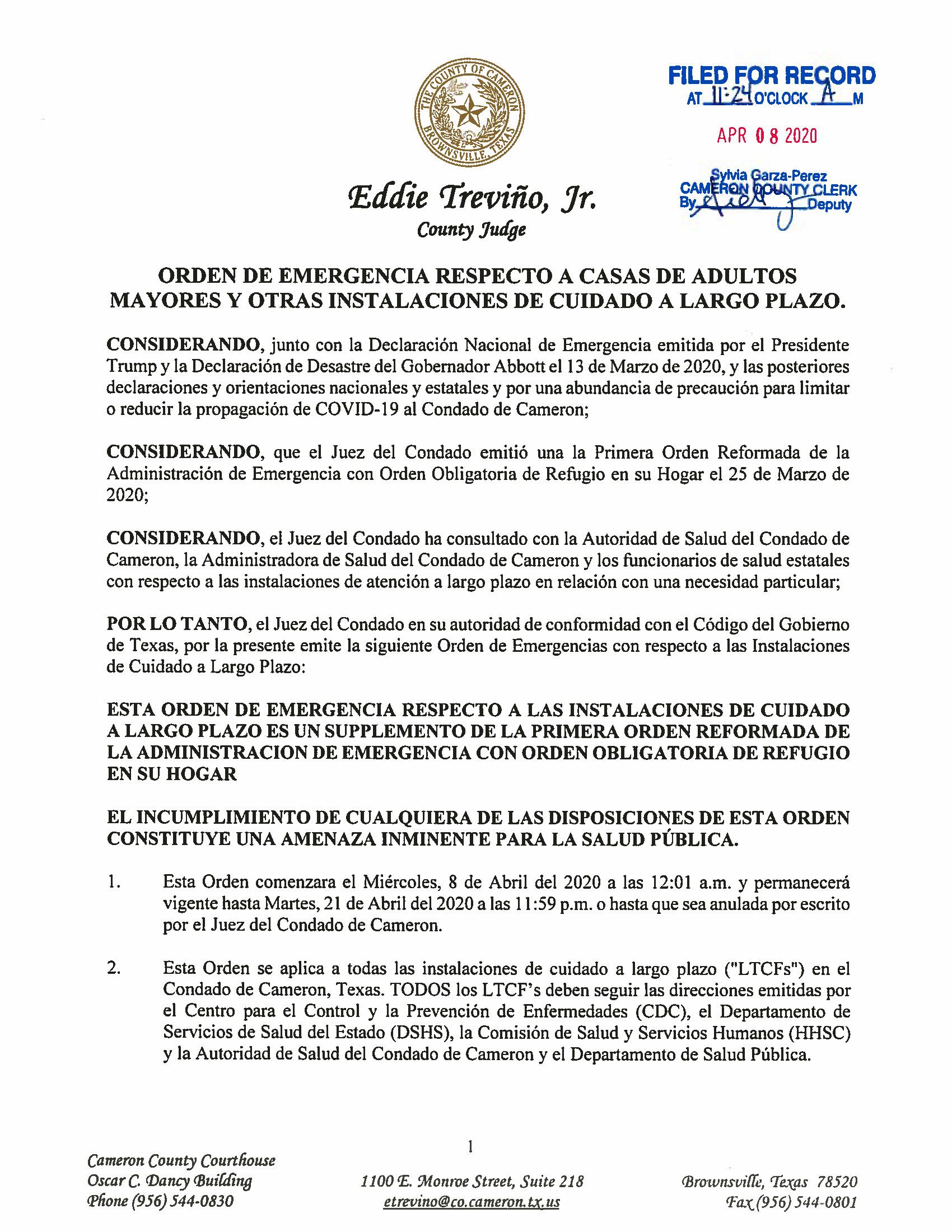 04.07.2020 Orden De Emergencia Respecto A Casas De Adultos Mayores Y Otras Instalaciones De Cuidado A Largo Plazo Page 1