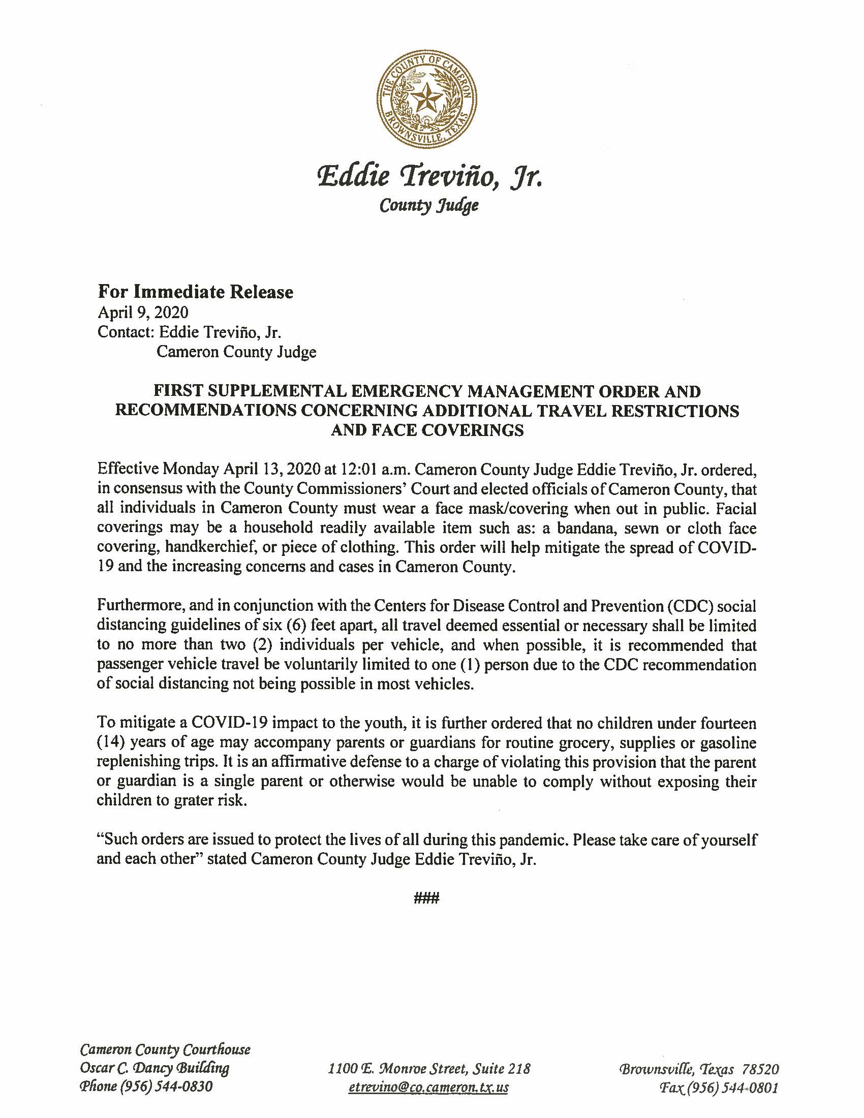04.09.2020 For Immediate Release First Supplemental Emergency Management Order And Recommendations Concerning Travel And Face Coverings