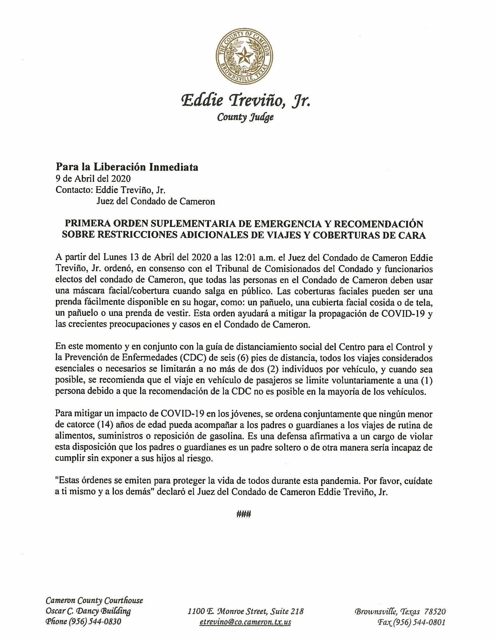 04.09.2020 Para La Liberacion Inmediata Primera Orden Suplementaria De Emergencia Y Recomendacion Sobre Restricciones Adicionales De Viajes Y Coberturas De Cara
