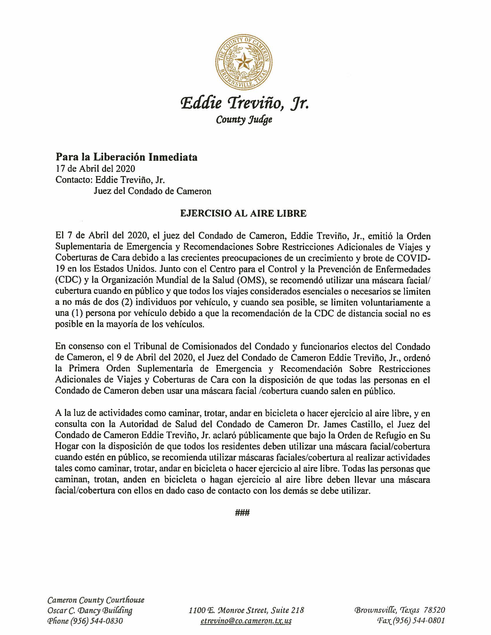 04.17.2020 Para La Liberacion Inmediata Ejercisio Al Aire Libre
