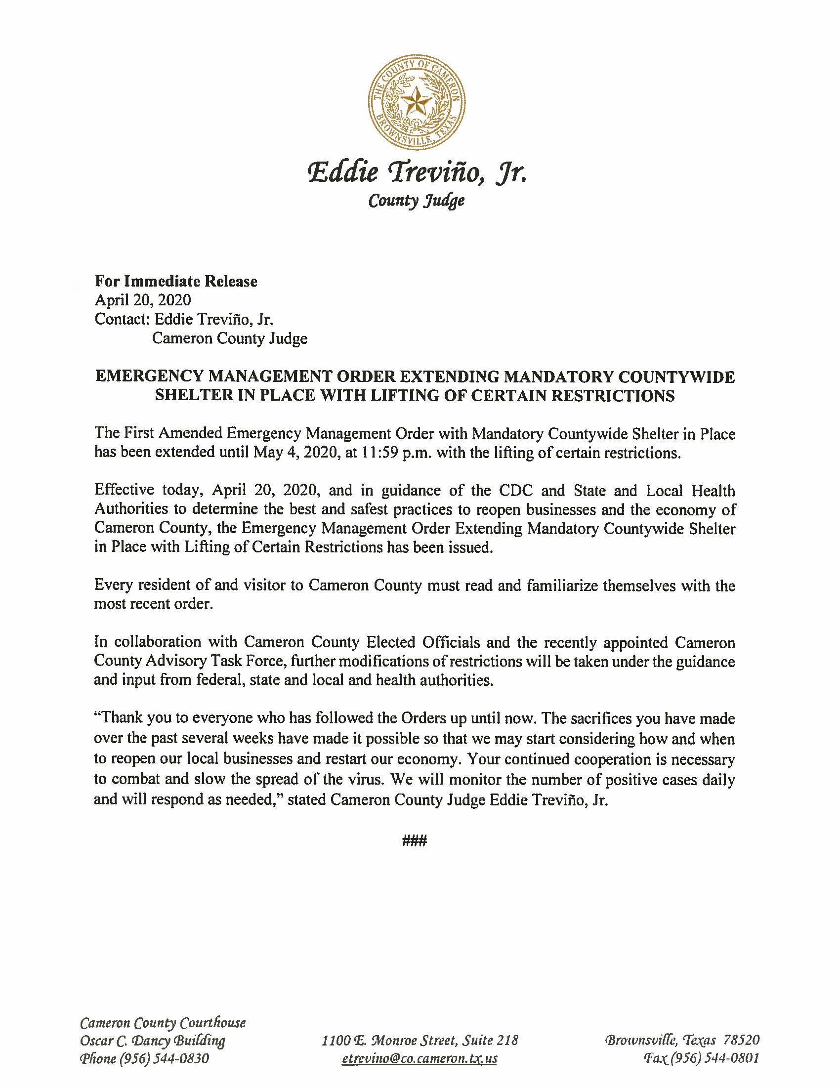 04.20.2020 For Immediate Release Emergency Management Order Extending Mandatory Countywide Shelter In Place With Lifting Of Certain Restrictions