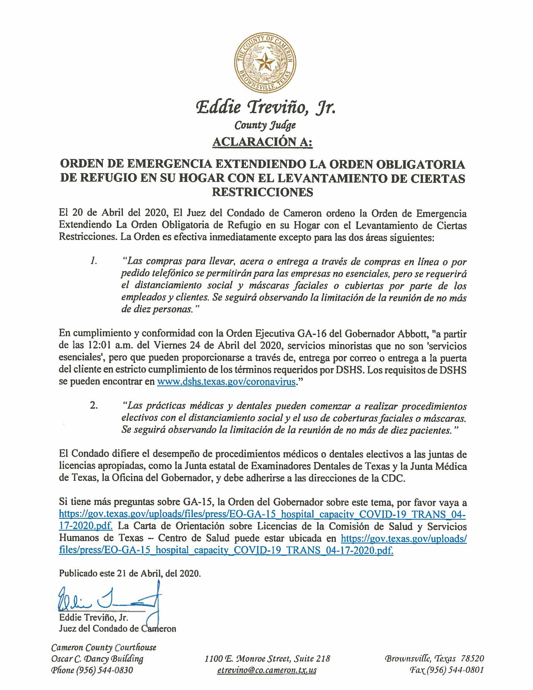 04.21.2020 Aclaracion De Orden De Emergencia Con Levantamiento De Ciertas Restricciones