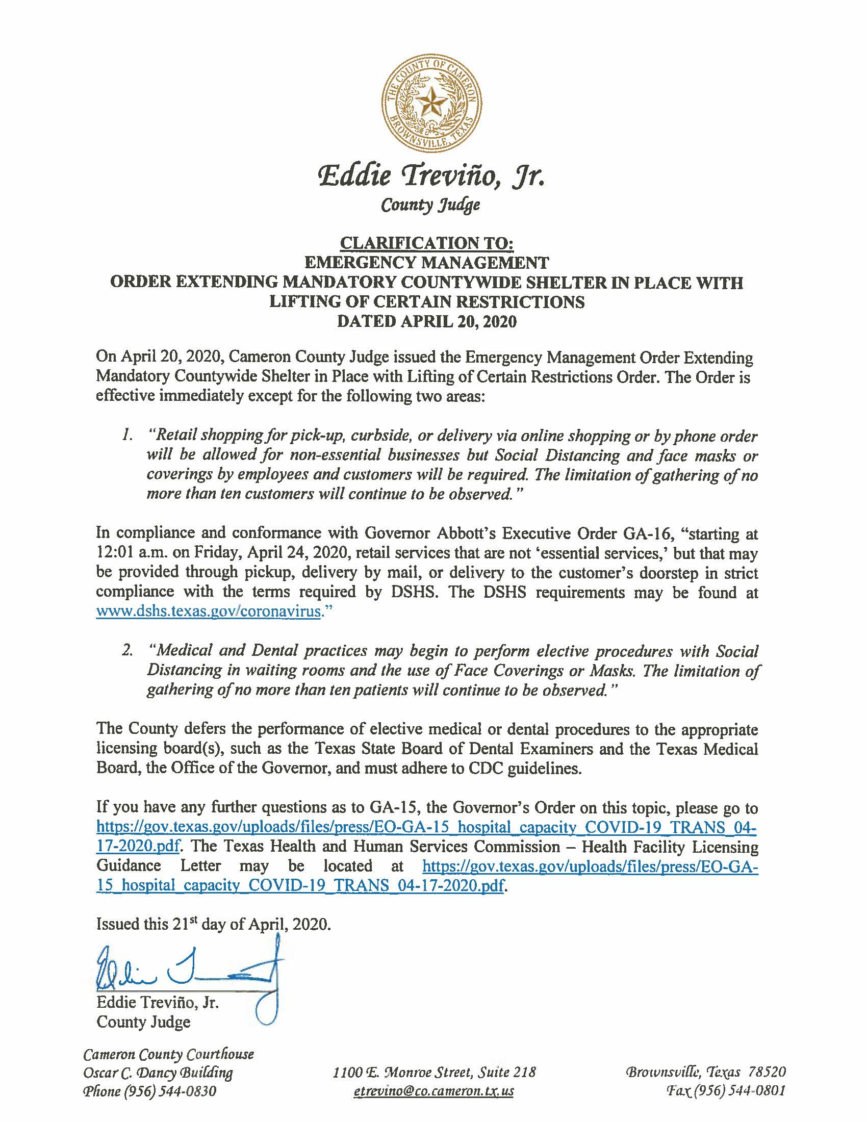 04.21.2020 Clarification To Emergency Management Order With Lifting Of Certain Restrictions