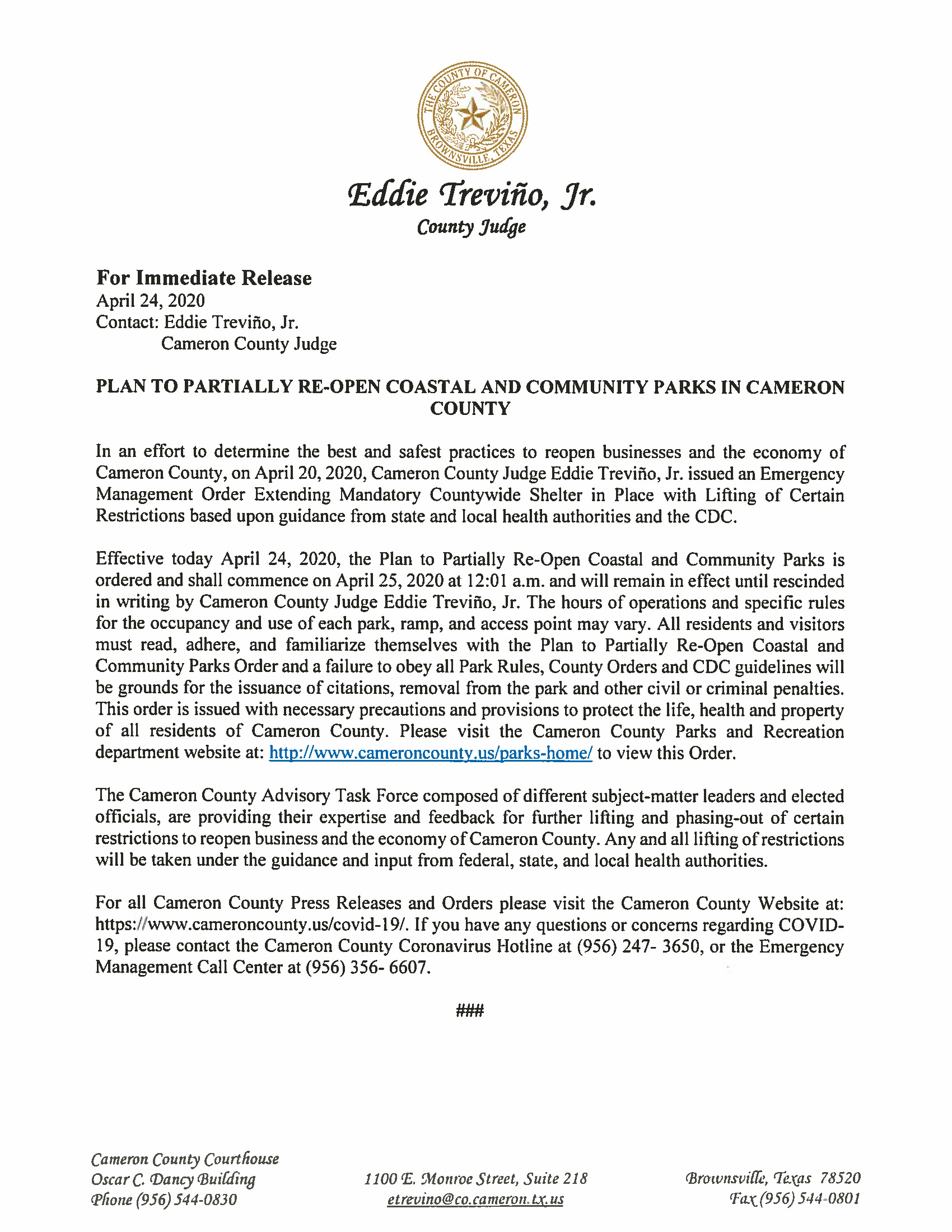 04.24.2020 Press Release Plan To Partially Re Open Coastal And Community Parks In Cameron County