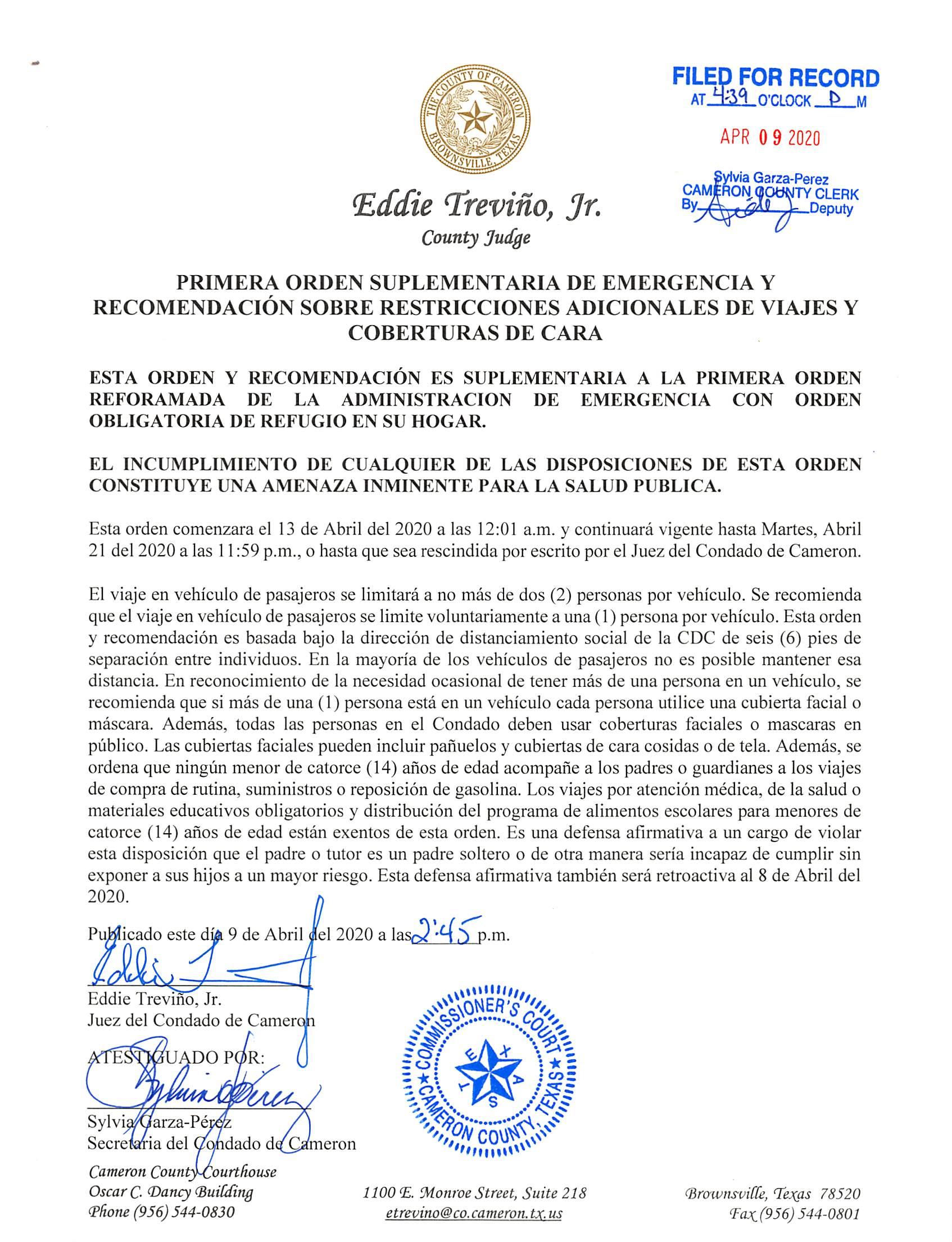 2020.04.09 Orden Primera Orden Suplementaria De Emergencia Restricciones Viajes Y Coberturas De Cara