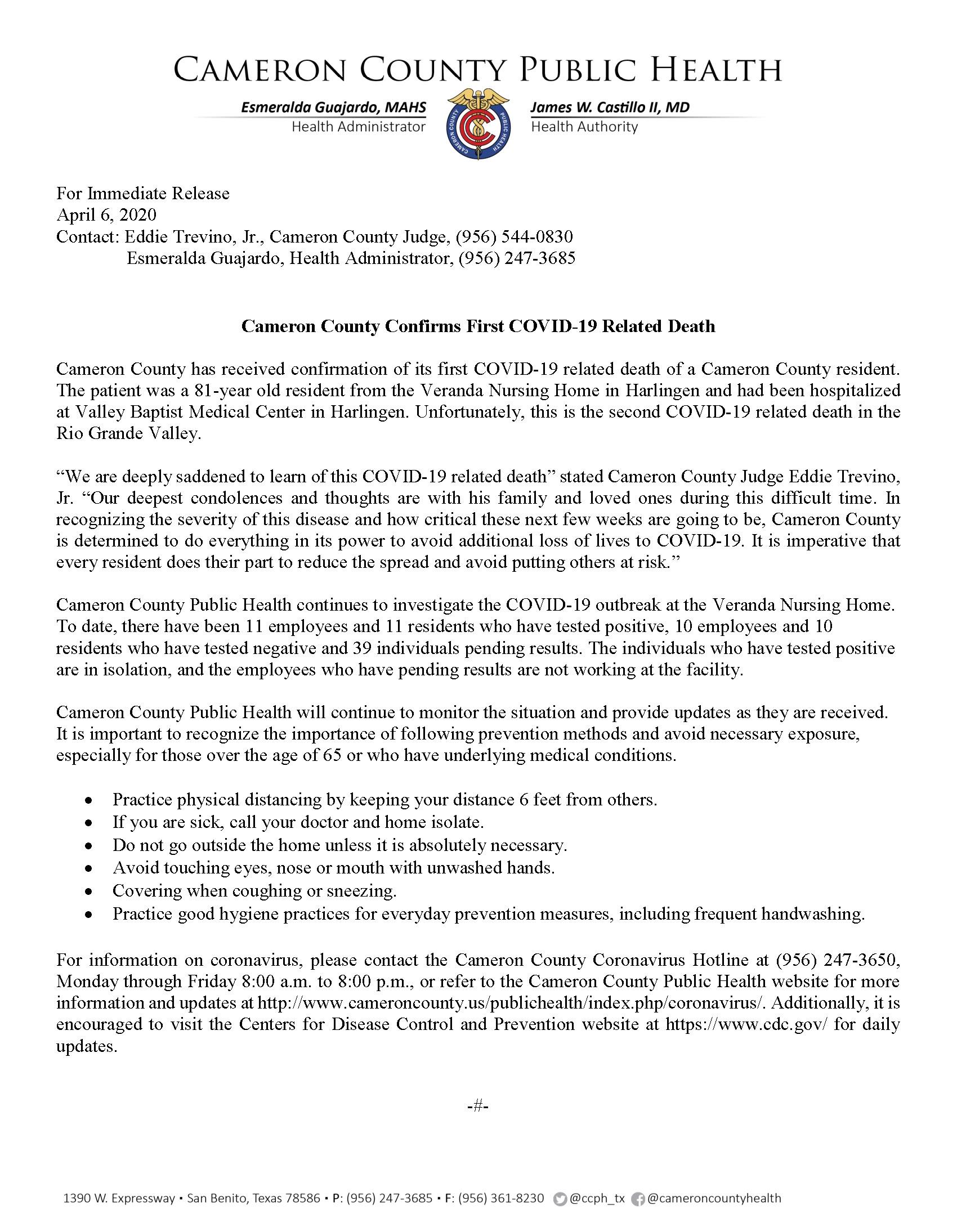 COVID 19 Press Release  4 6 20 Vers2docx