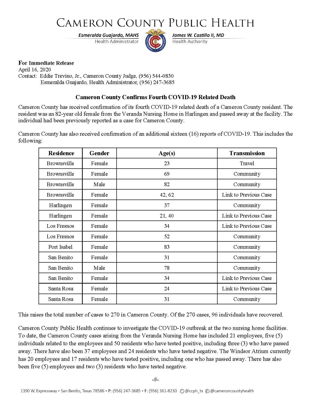 COVID 19 Press Release 255 270 PR23 4 16 2020