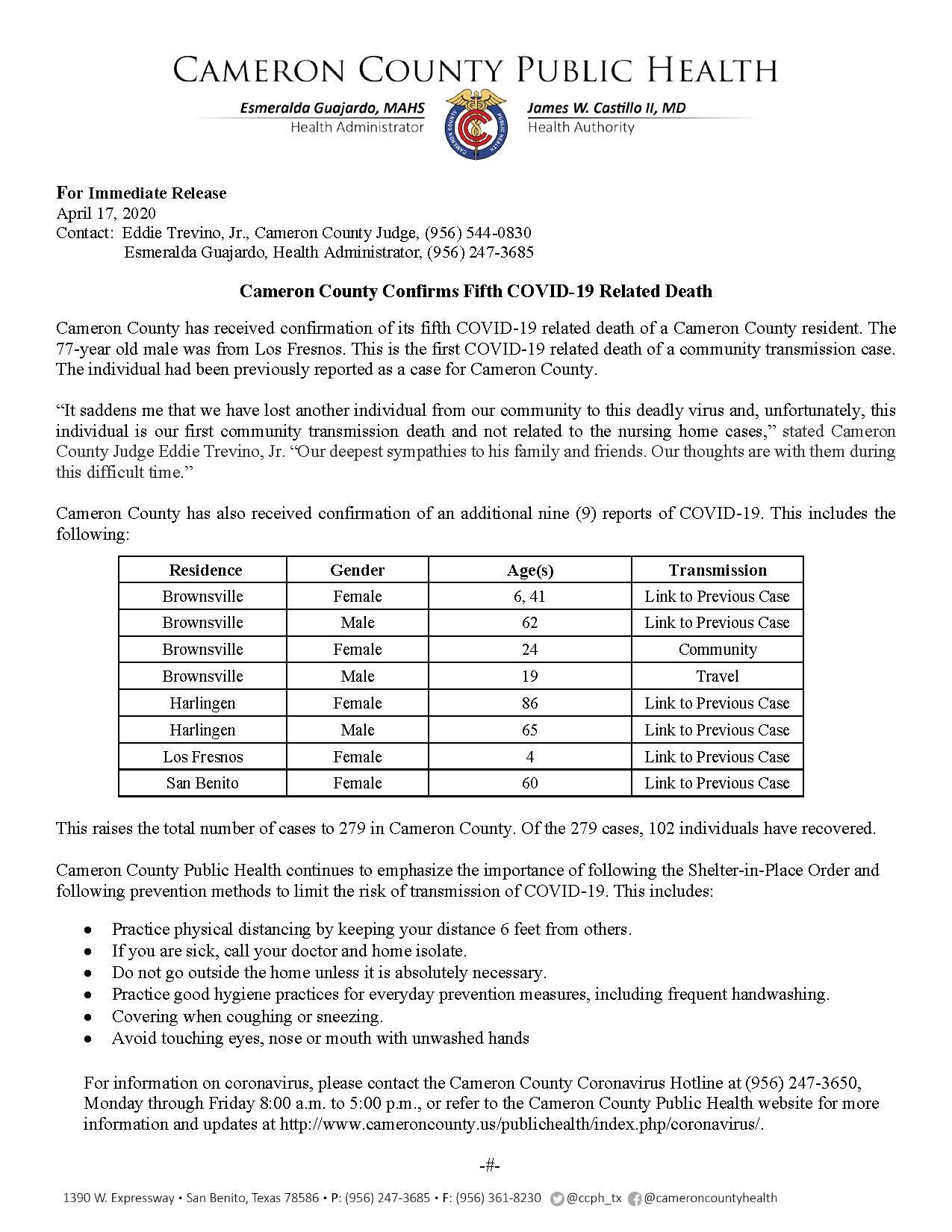 COVID 19 Press Release 270 279 PR24 4 17 2020