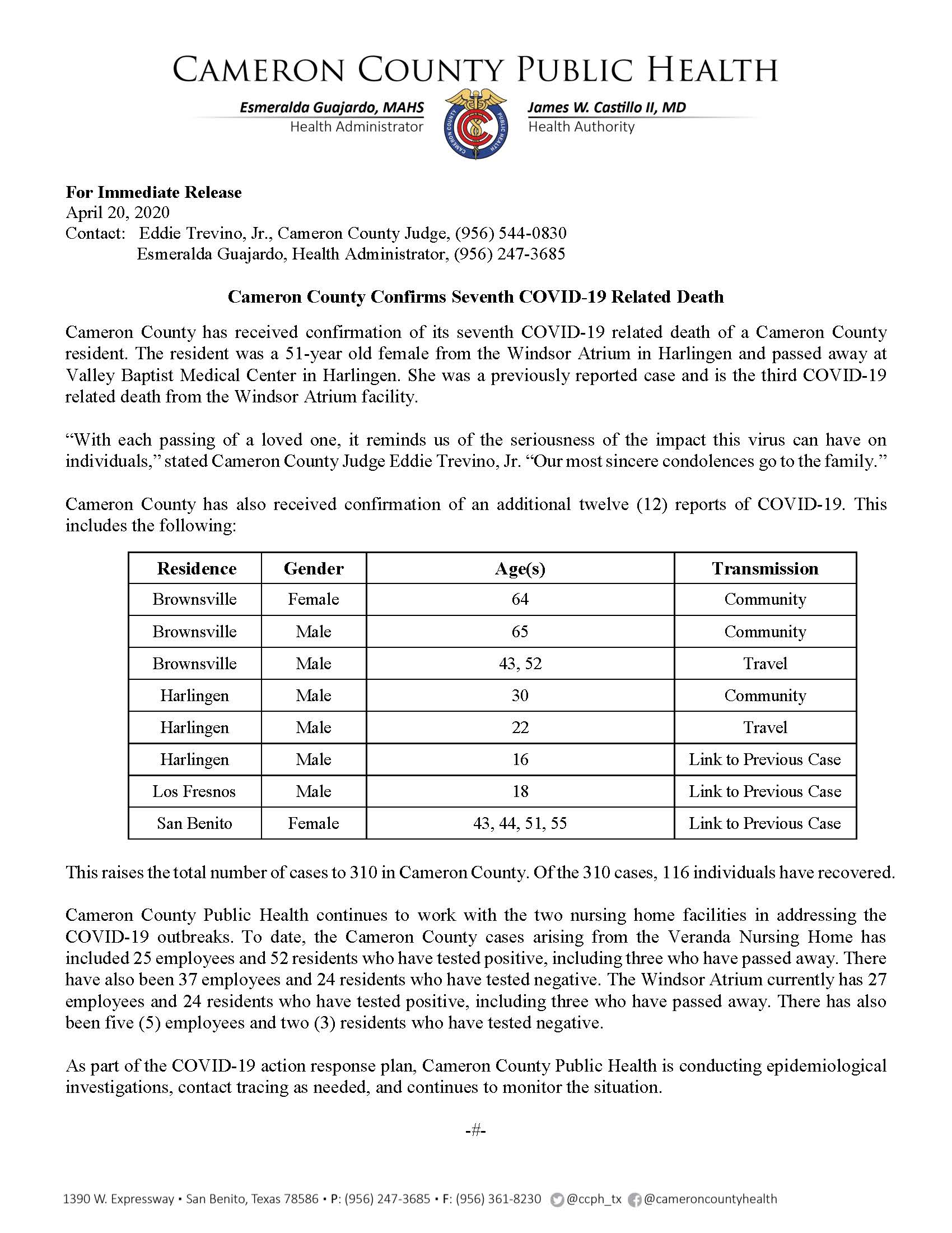 COVID 19 Press Release 299 310 PR26 4 20 2020
