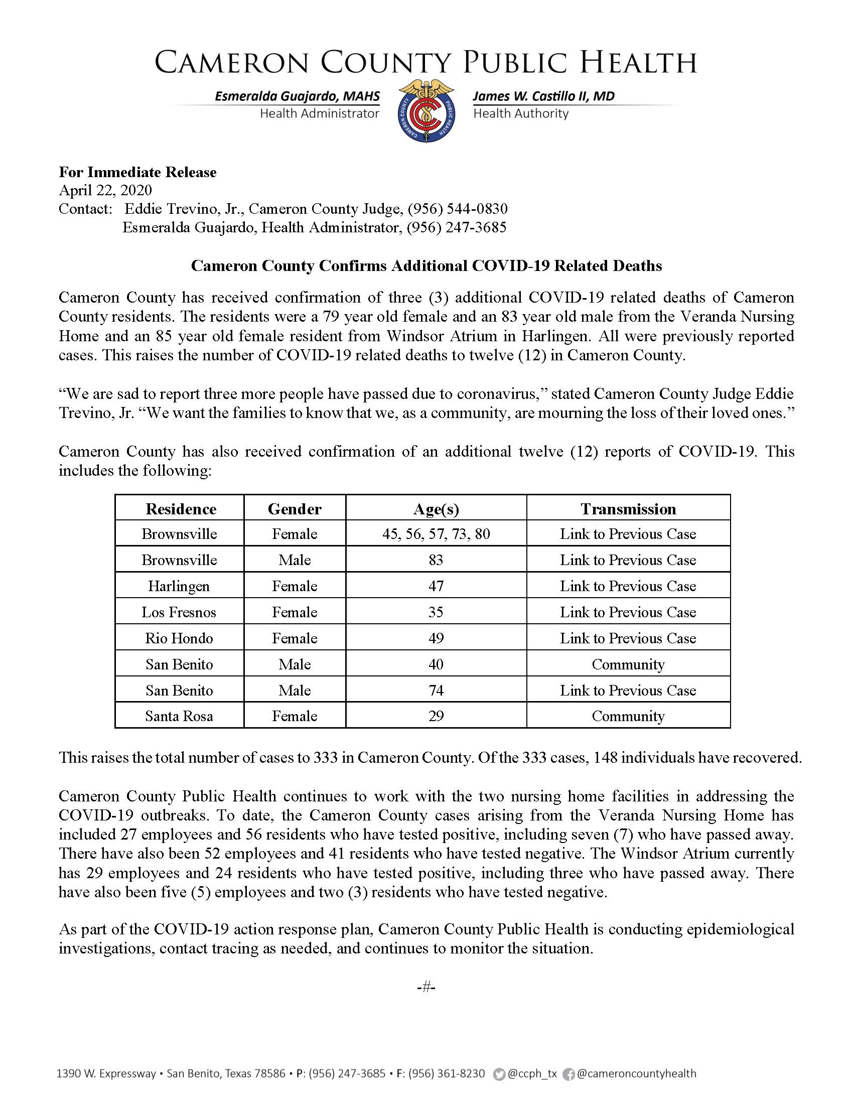 COVID 19 Press Release 322 333 PR28 4 22 2020
