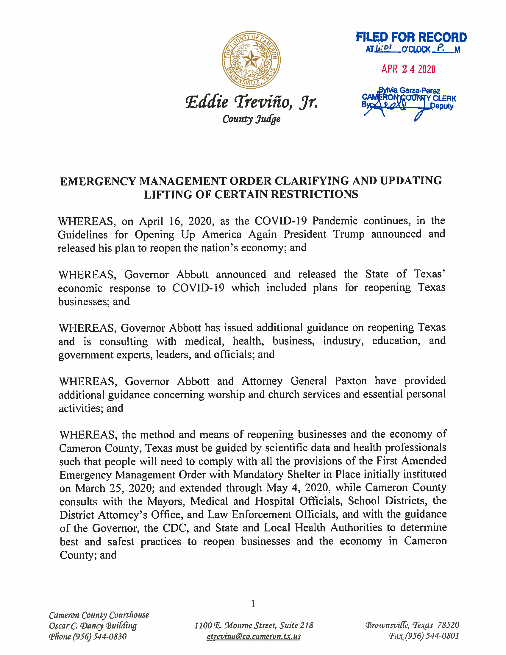 Emergency Management Order Clarifying And Updating Lifting Of Certain Restrictions Page 1