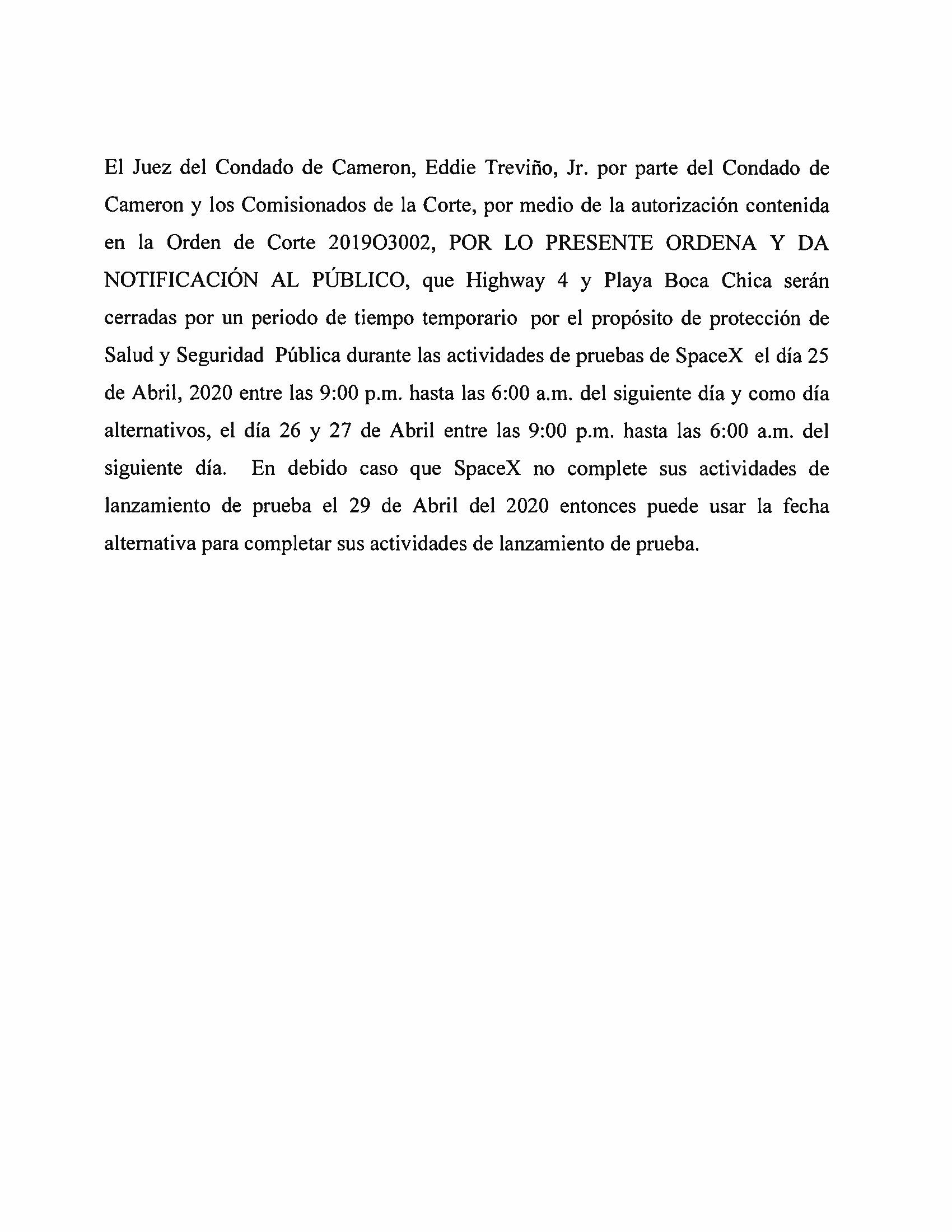 ORDER.CLOSURE OF HIGHWAY 4 Y LA PLAYA BOCA CHICA.SPANISH.04.25.20