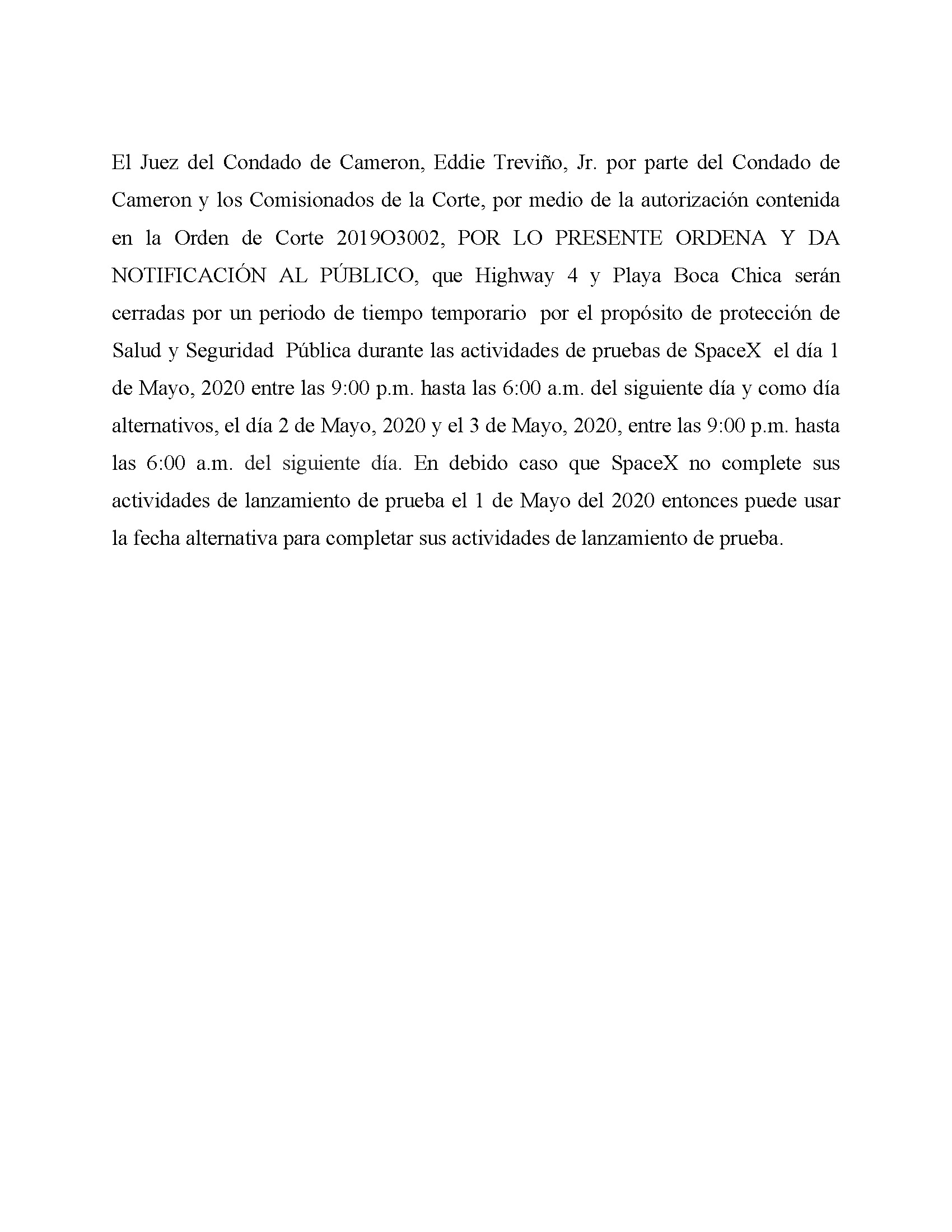 ORDER.CLOSURE OF HIGHWAY 4 Y LA PLAYA BOCA CHICA.SPANISH.05.01.20