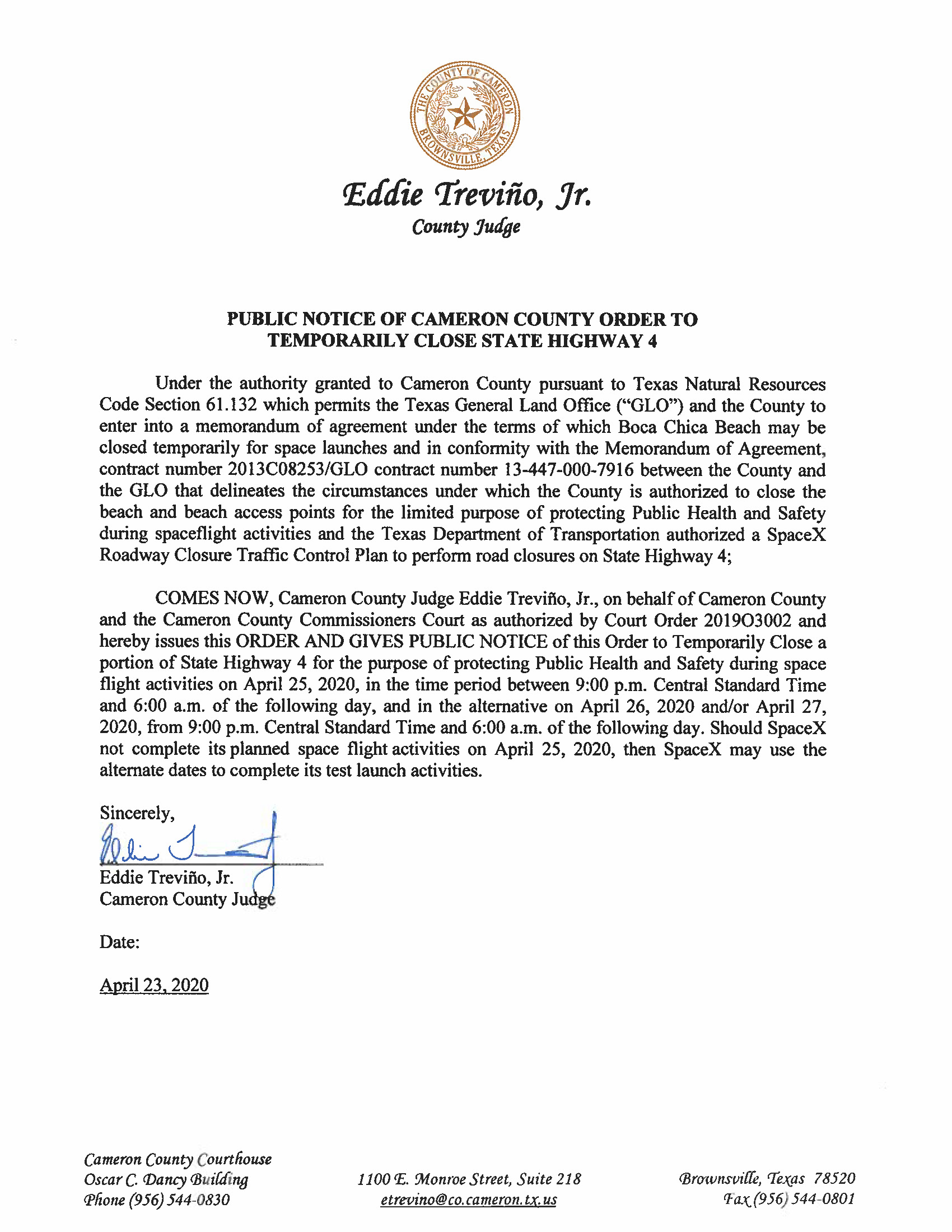 PUBLIC NOTICE OF CAMERON COUNTY ORDER TO TEMP. BEACH CLOSURE AND HWY. 04.25.20 Page 1