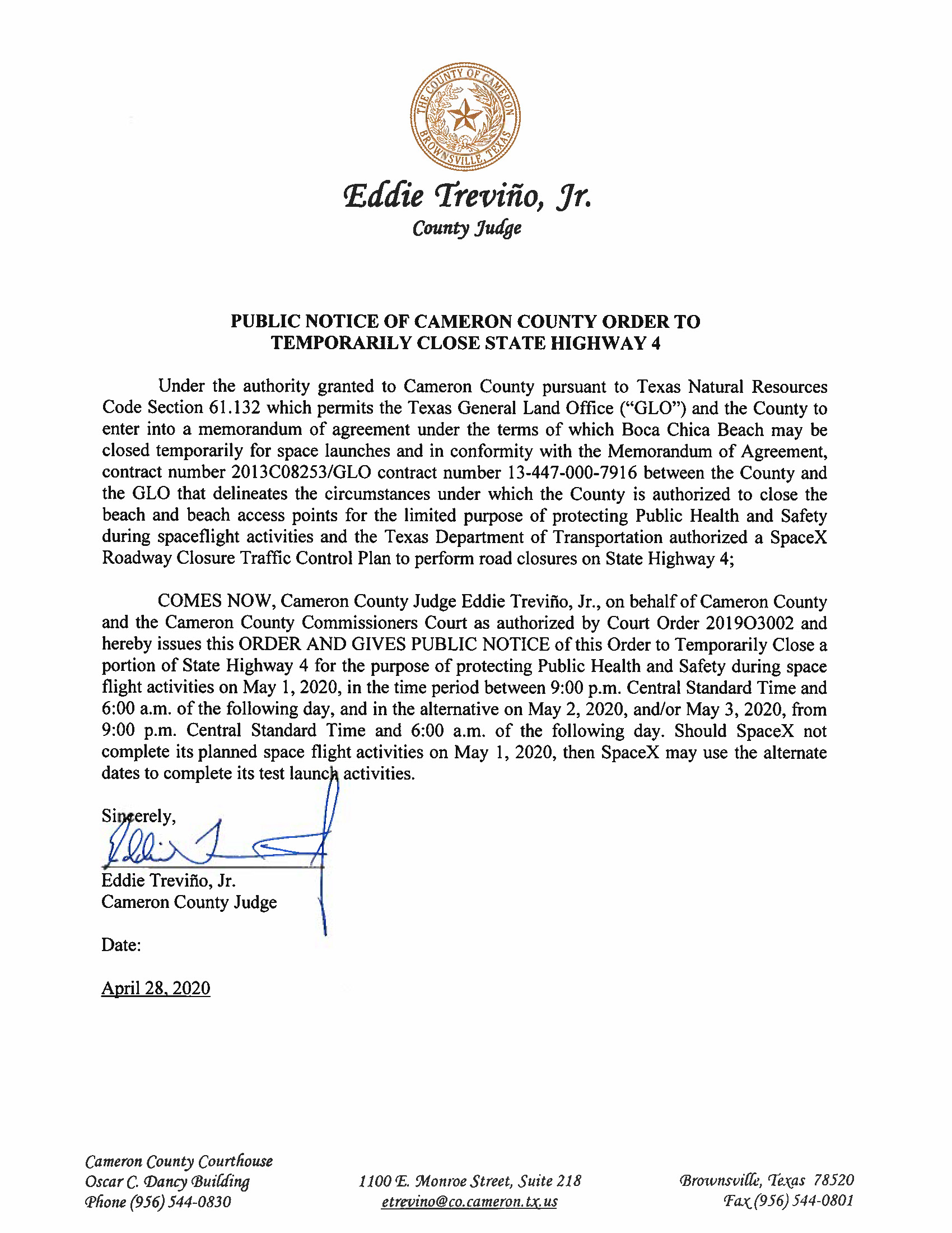 PUBLIC NOTICE OF CAMERON COUNTY ORDER TO TEMP. BEACH CLOSURE AND HWY. 05.01.20.docx Page 1