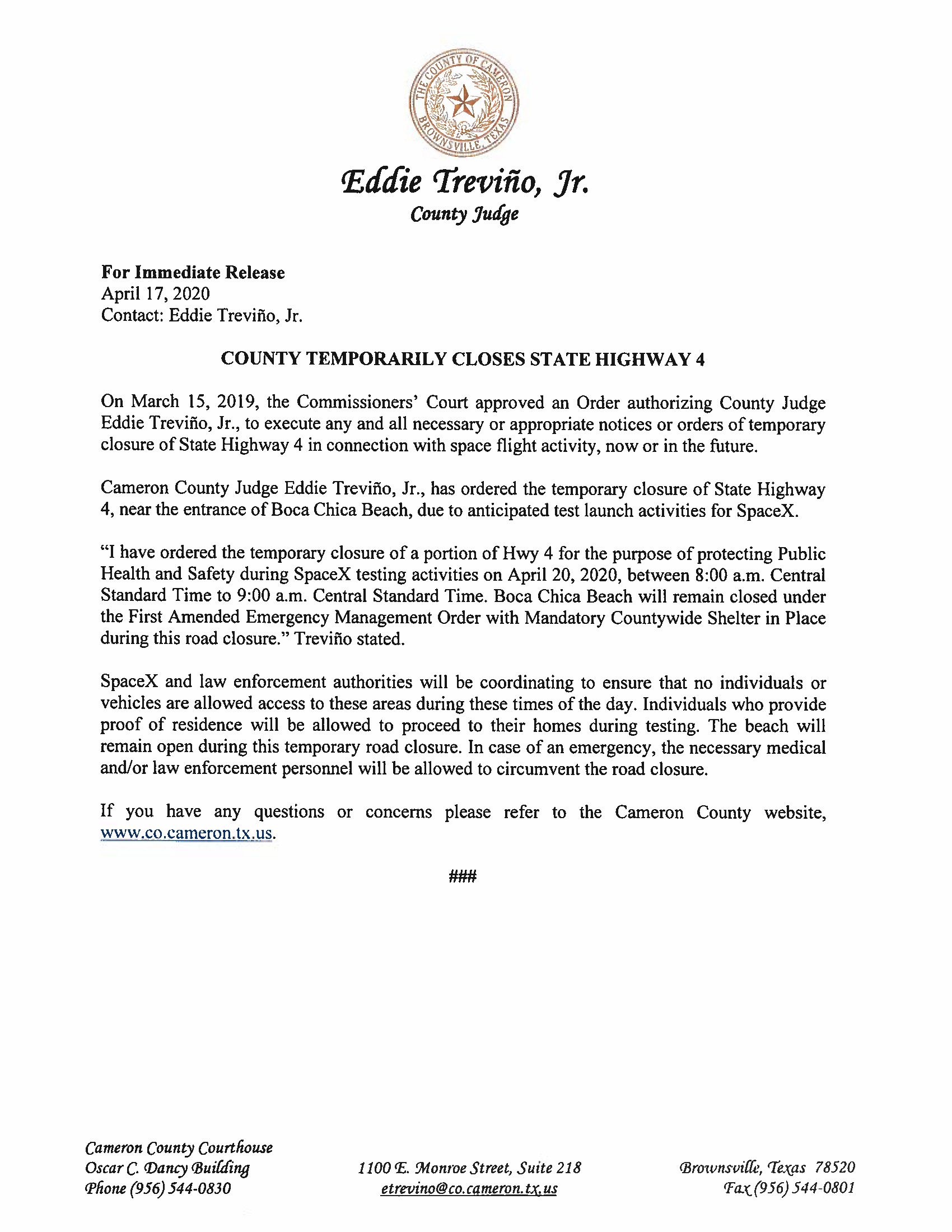 Press Release In English And Spanish.ROAD CLOSURE. 04.20.2020 Page 1