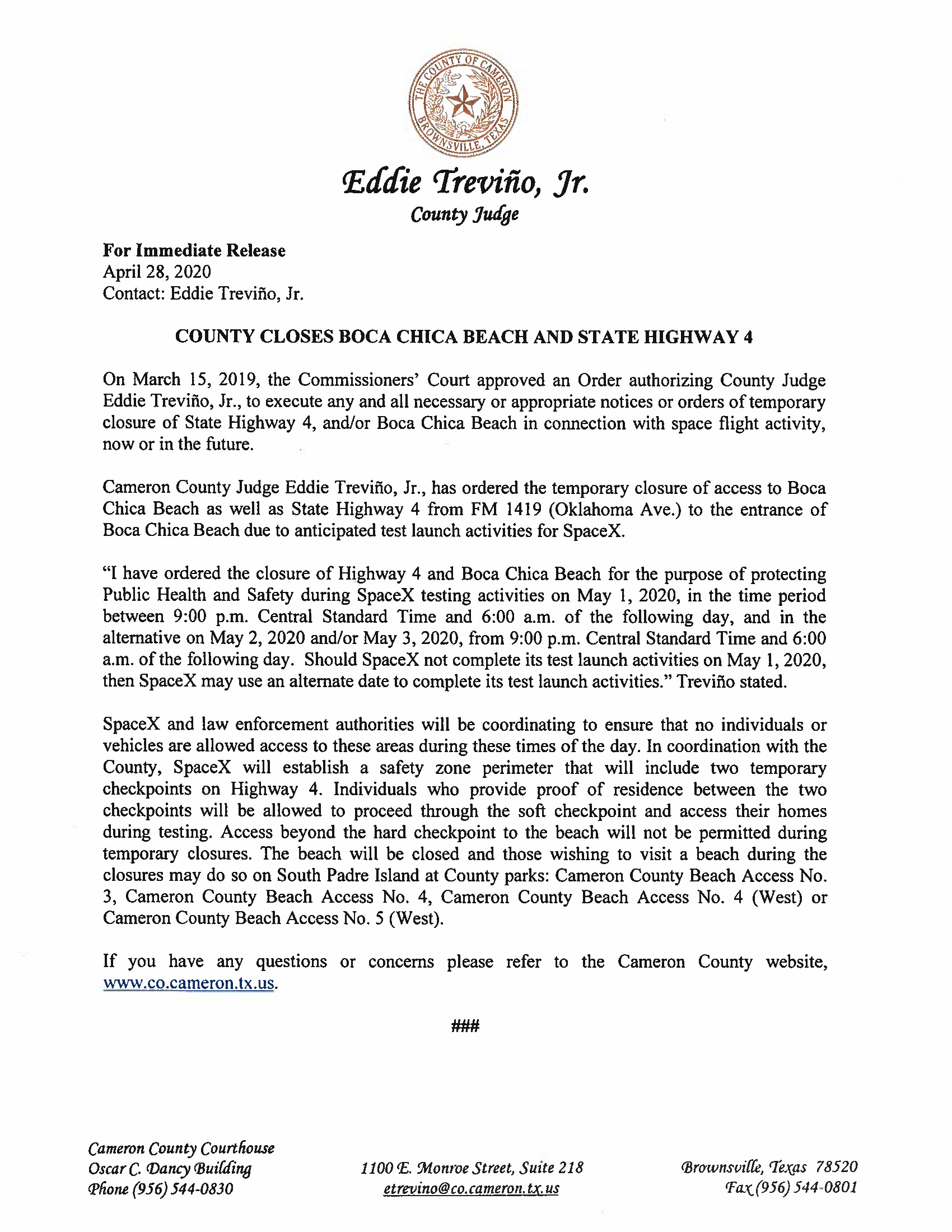 Press Release. English And Spanish 05.01.20 Page 1