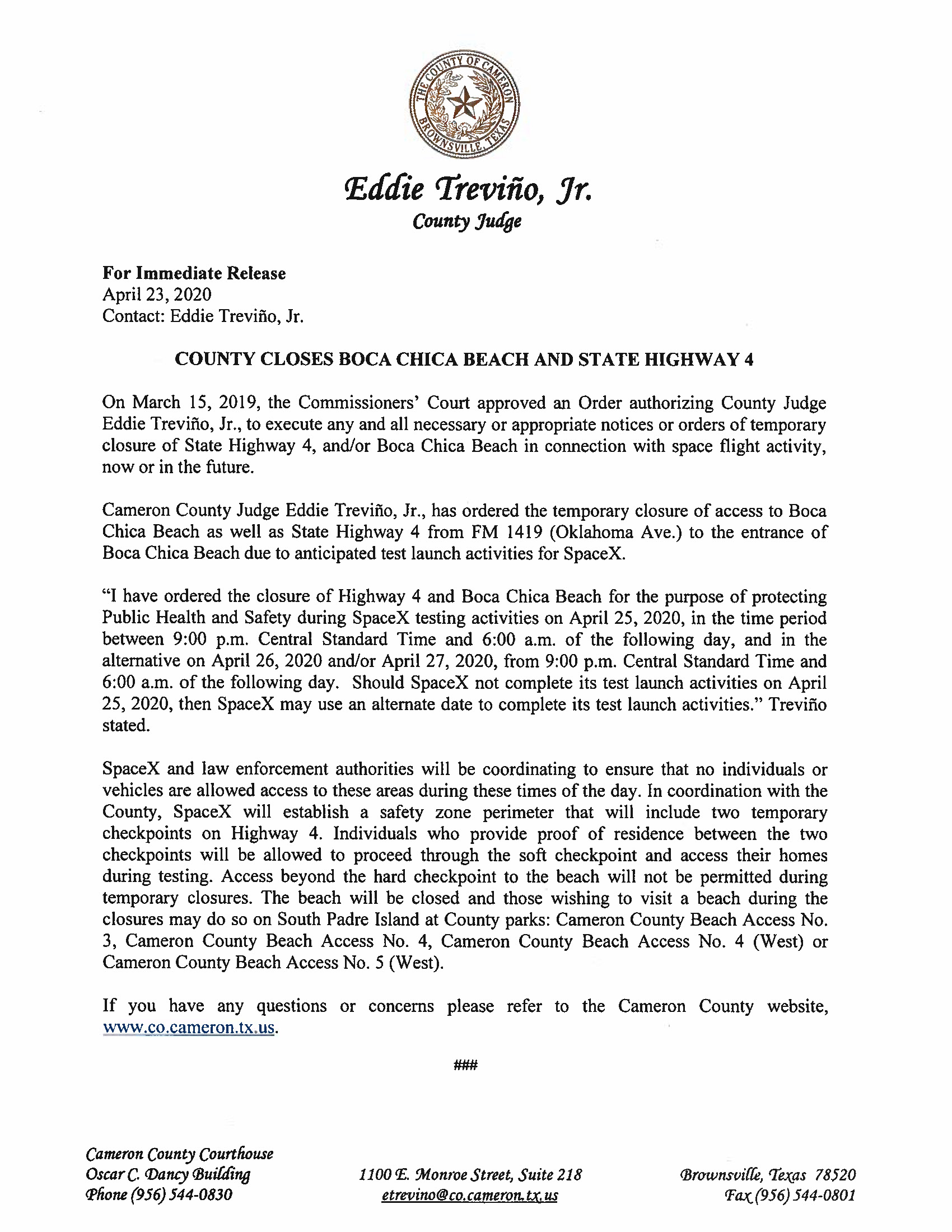 Press Release.English And Spanish.04.25.20 Page 1