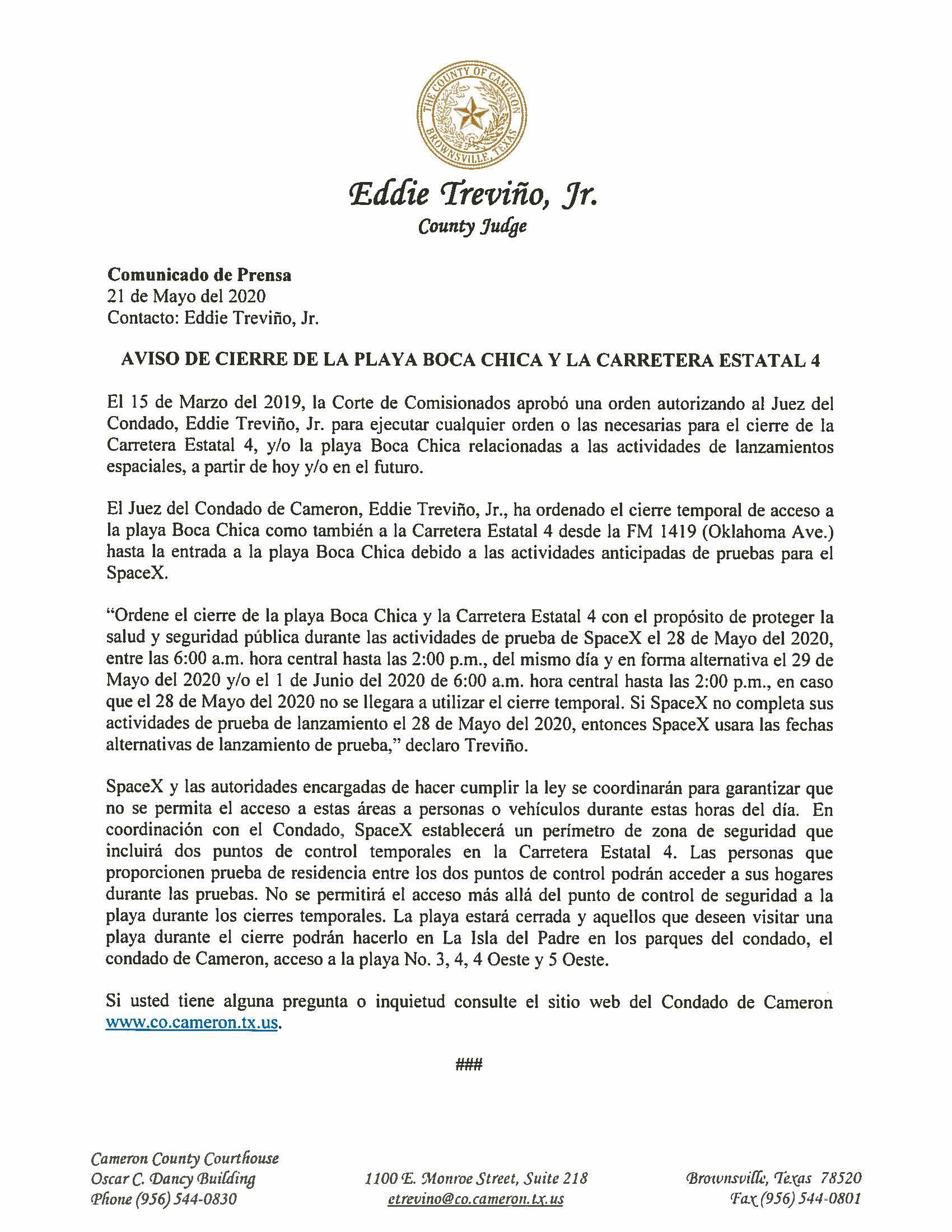 05.21.2020 Comunicado De Prensa Aviso De Cierre De La Playa Boca Chica Y Carretera Estatal 4