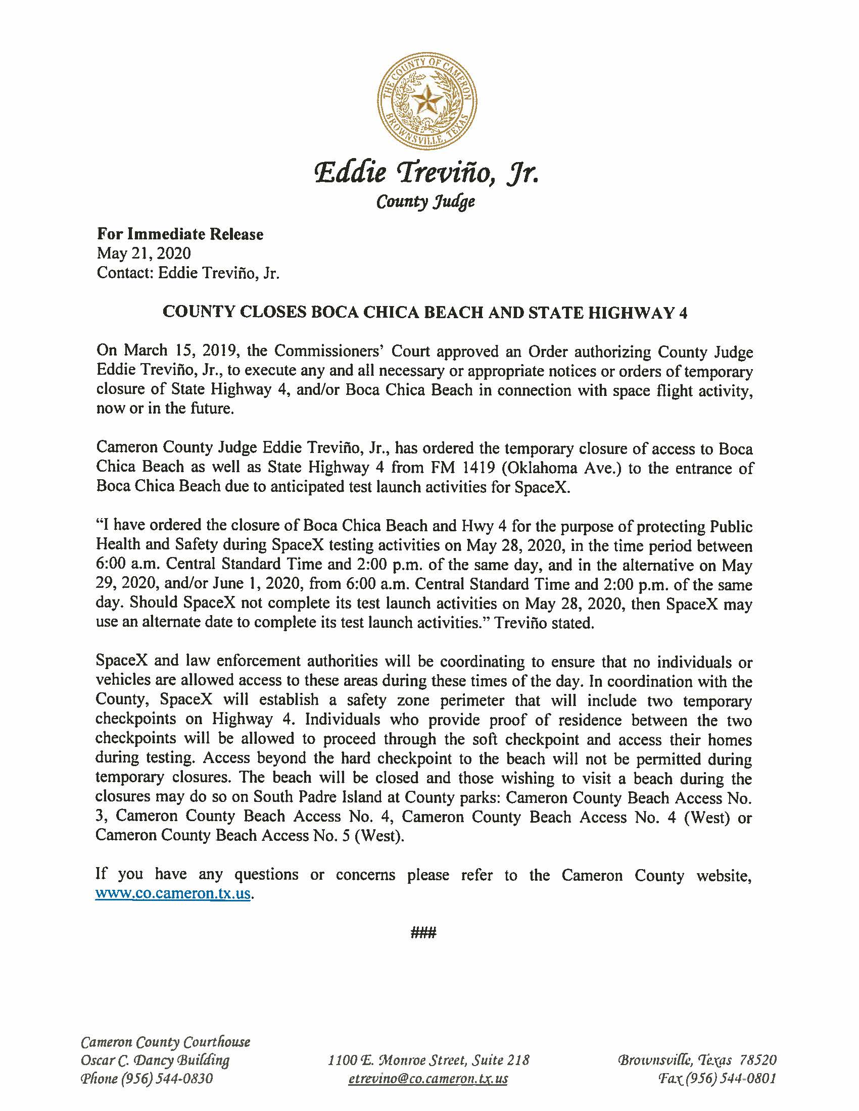 05.21.2020 For Immediate Release County Closes Boca Chica Beach And State Highway 4