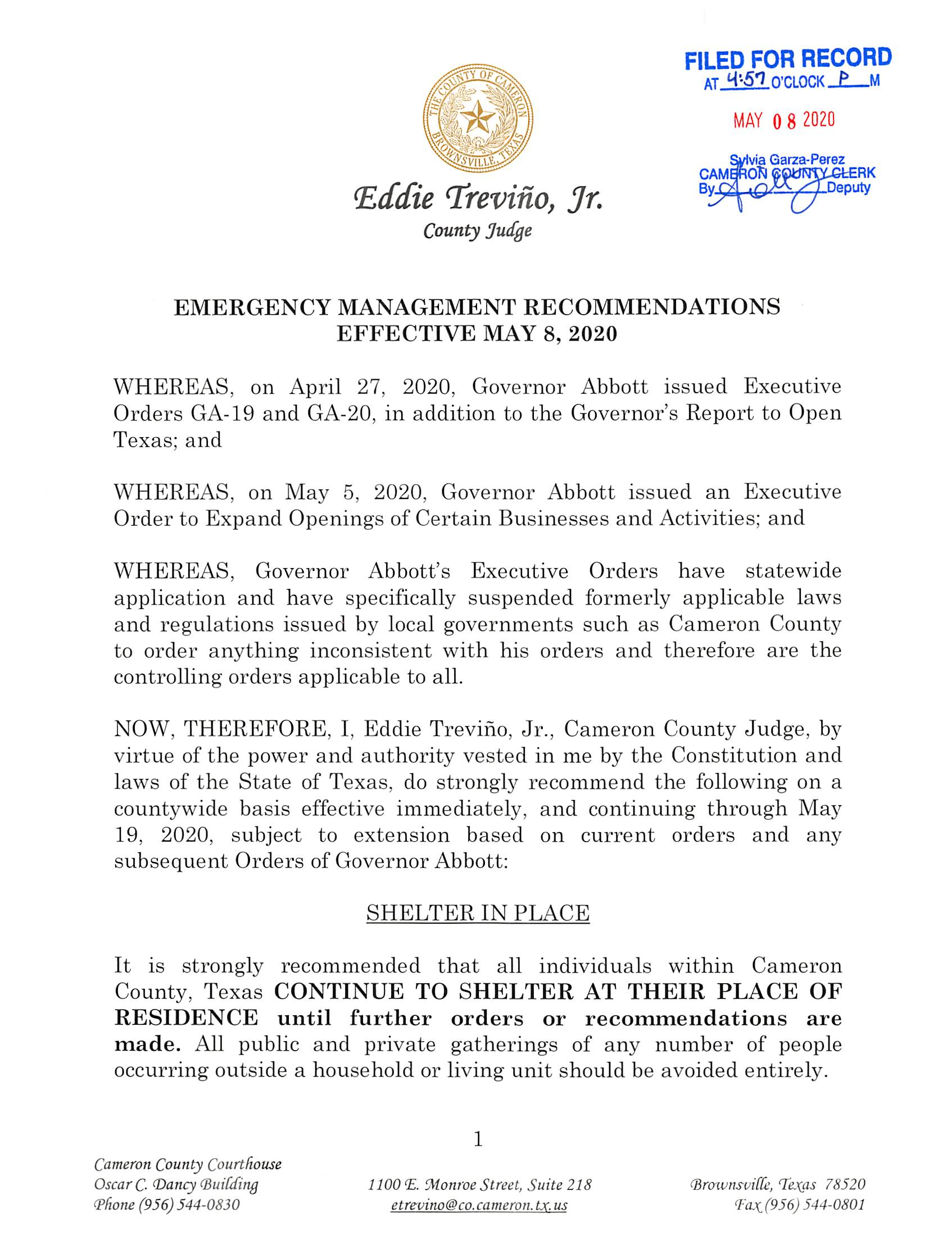 2020.05.08 Order Emergency Management Recommendations Effective May 8 2020 002 Page 1