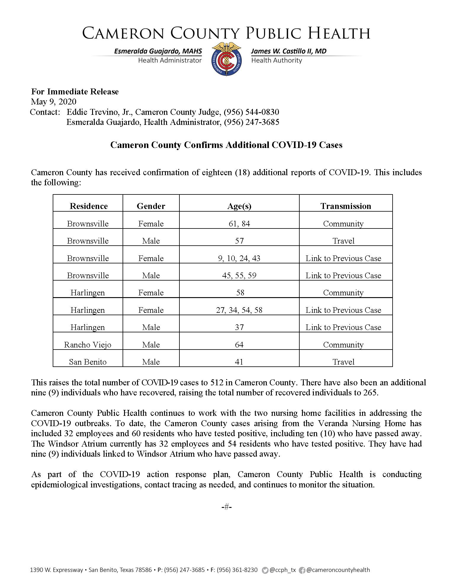 COVID 19 Press Release 495 512 PR43 5 9 2020