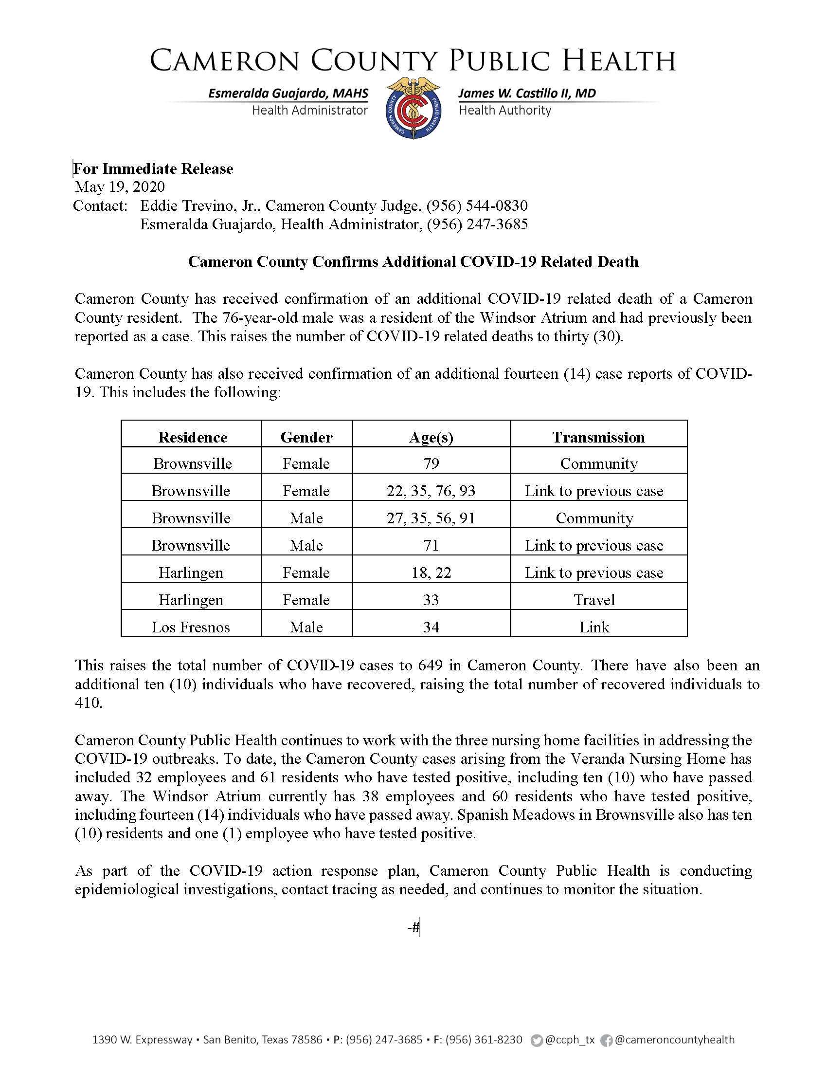COVID 19 Press Release 636 649 PR51 5 19 2020