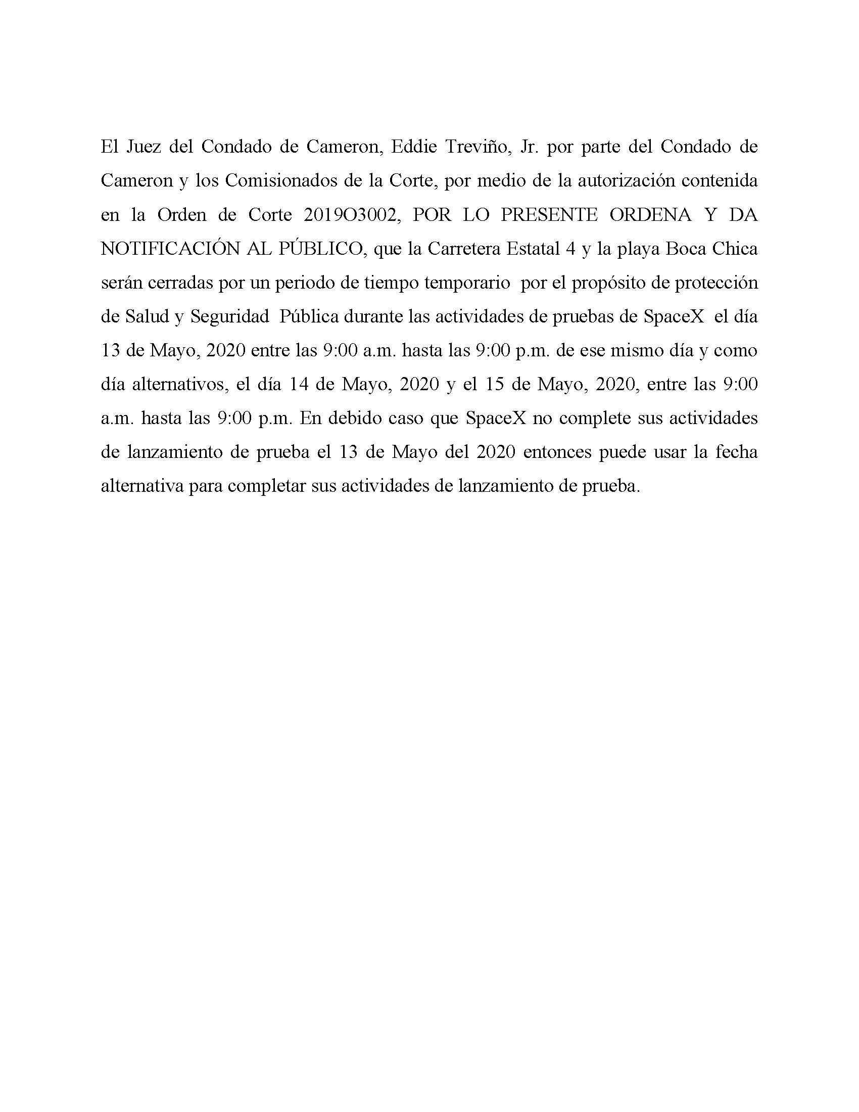 ORDER.CLOSURE OF HIGHWAY 4 Y LA PLAYA BOCA CHICA.SPANISH.05.13.20