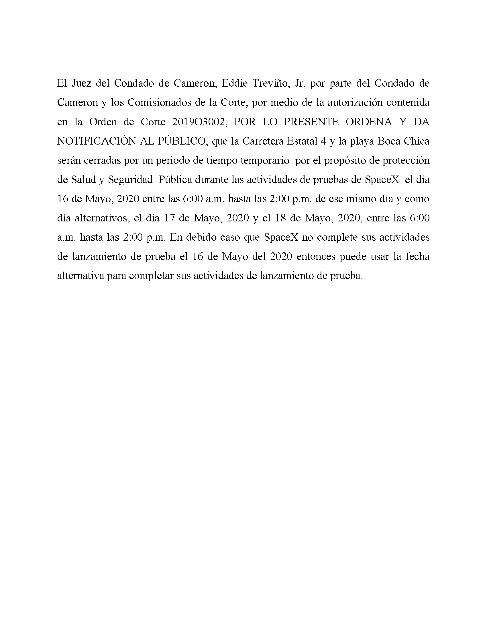 ORDER.CLOSURE OF HIGHWAY 4 Y LA PLAYA BOCA CHICA.SPANISH.05.16.20
