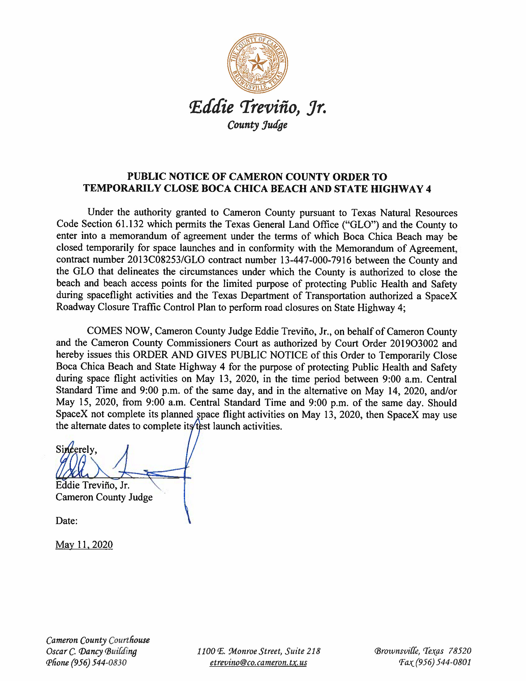 PUBLIC NOTICE OF CAMERON COUNTY ORDER TO TEMP. BEACH CLOSURE AND HWY. 05.13.20 Page 1