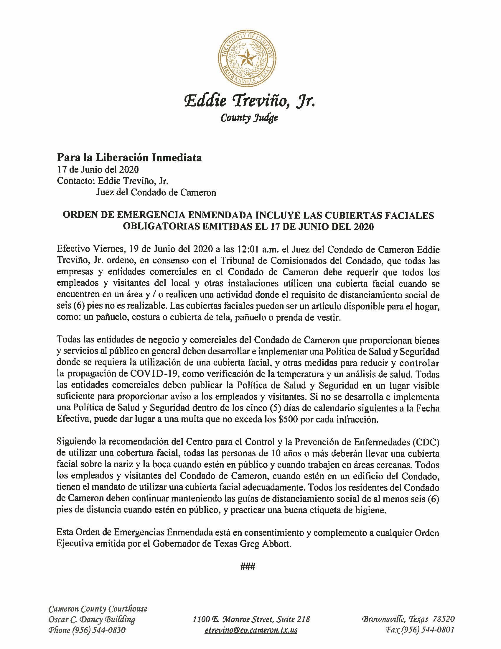 06.17.2020 Para La Liberacion Imediata Orden De Emergencia Enmendada Inclye Las Cubiertas Faciales Obligatorias Emitidas El 17 De Junio Del 2020