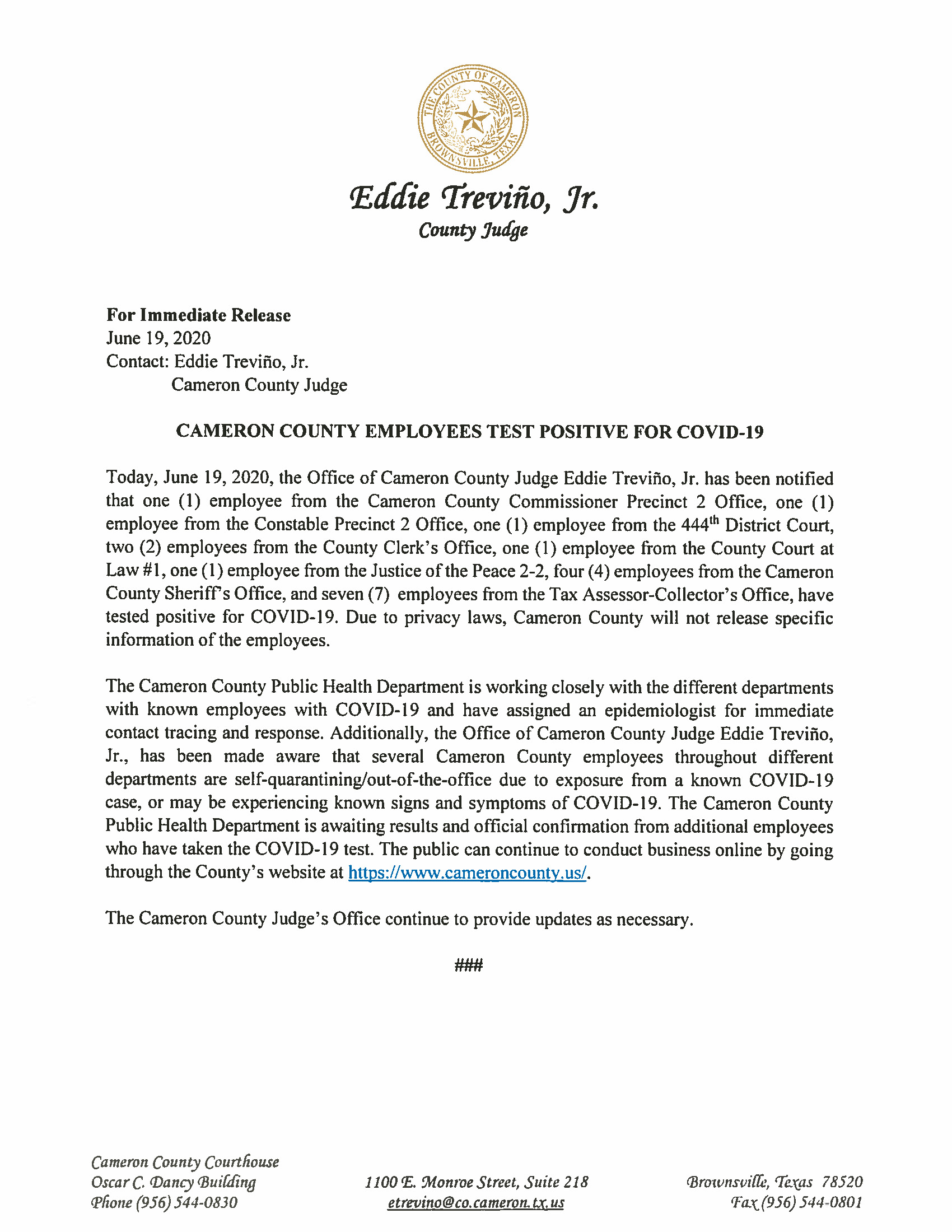 06.19.2020 Cameron County Employees Test Positive For COVID 19